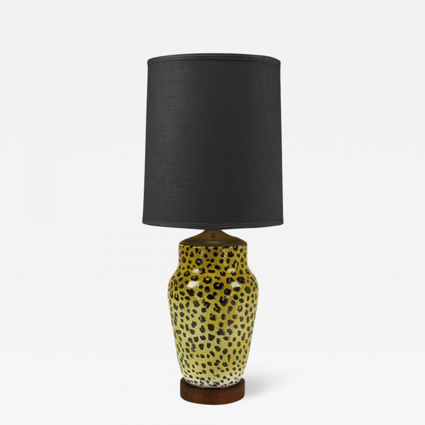 Modern Antique White Nelson Table Lamp with Grey White Polka Dot Shade