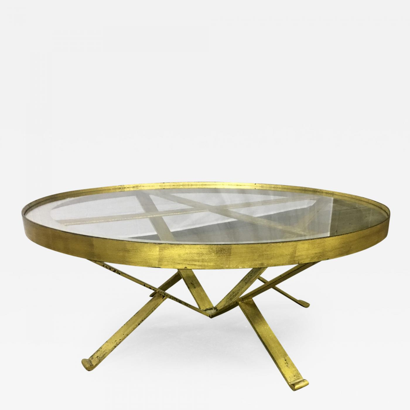 French Gold Coffee Table: Large Round 40s French Gold Leaf Wrought Iron Coffee Table