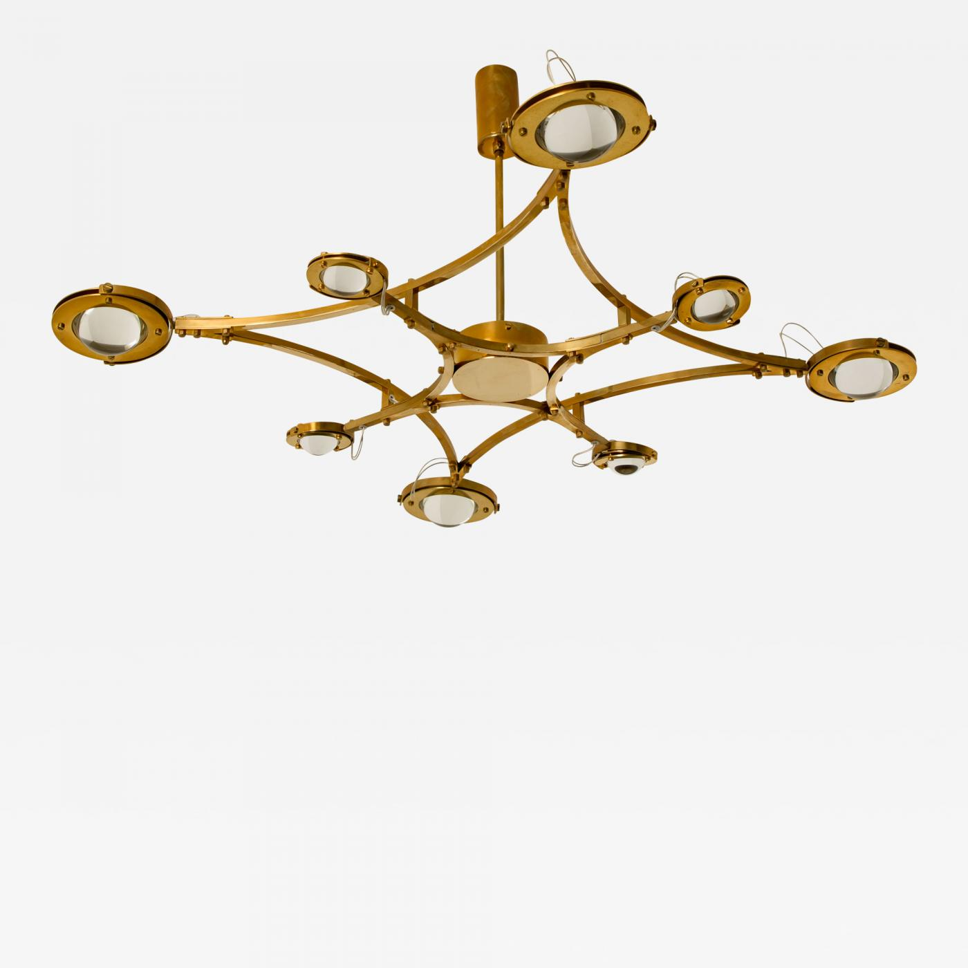 Large Solid Brass And Glass Flush Mount Chandelier Jewel
