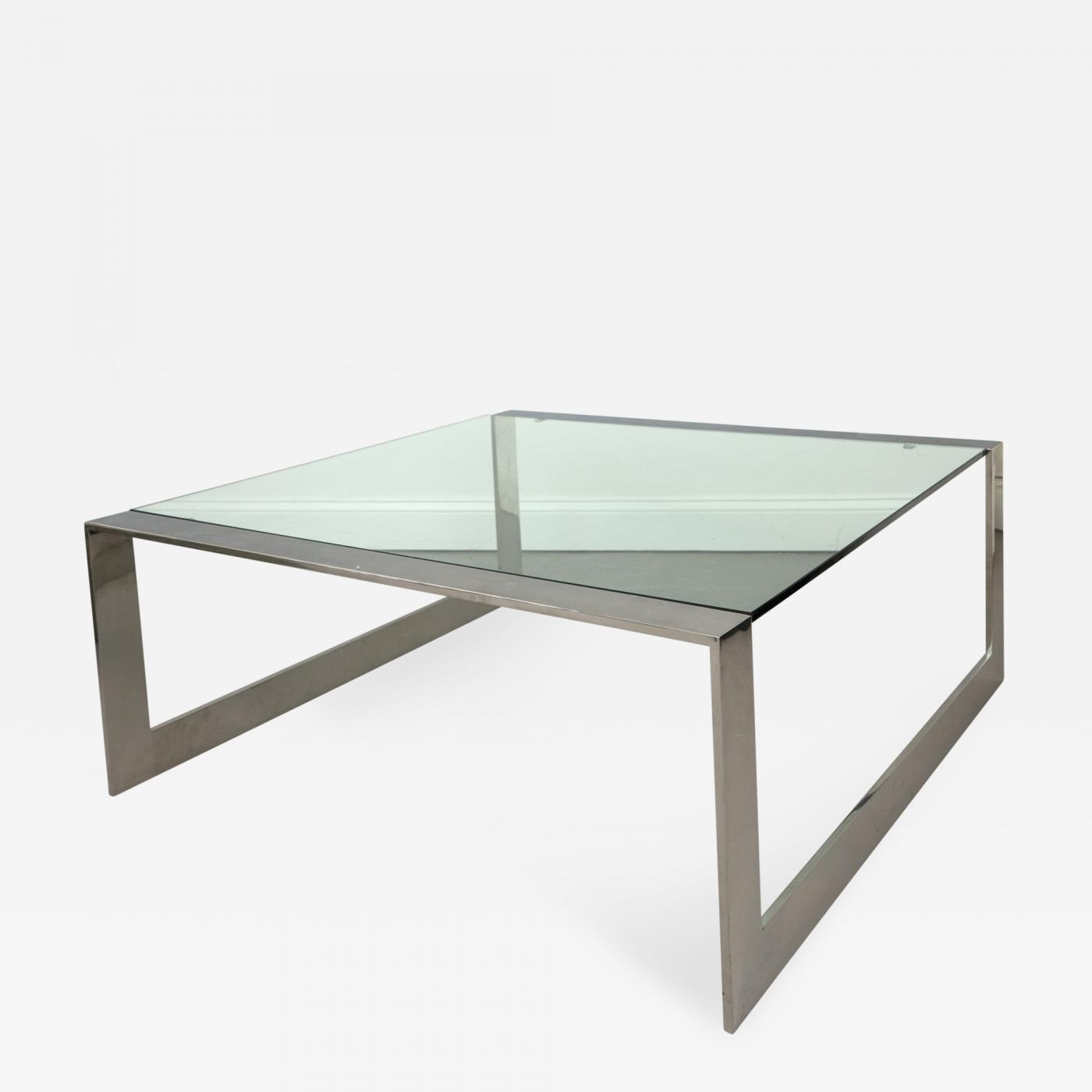 Large Square Glass And Chrome Coffee Table
