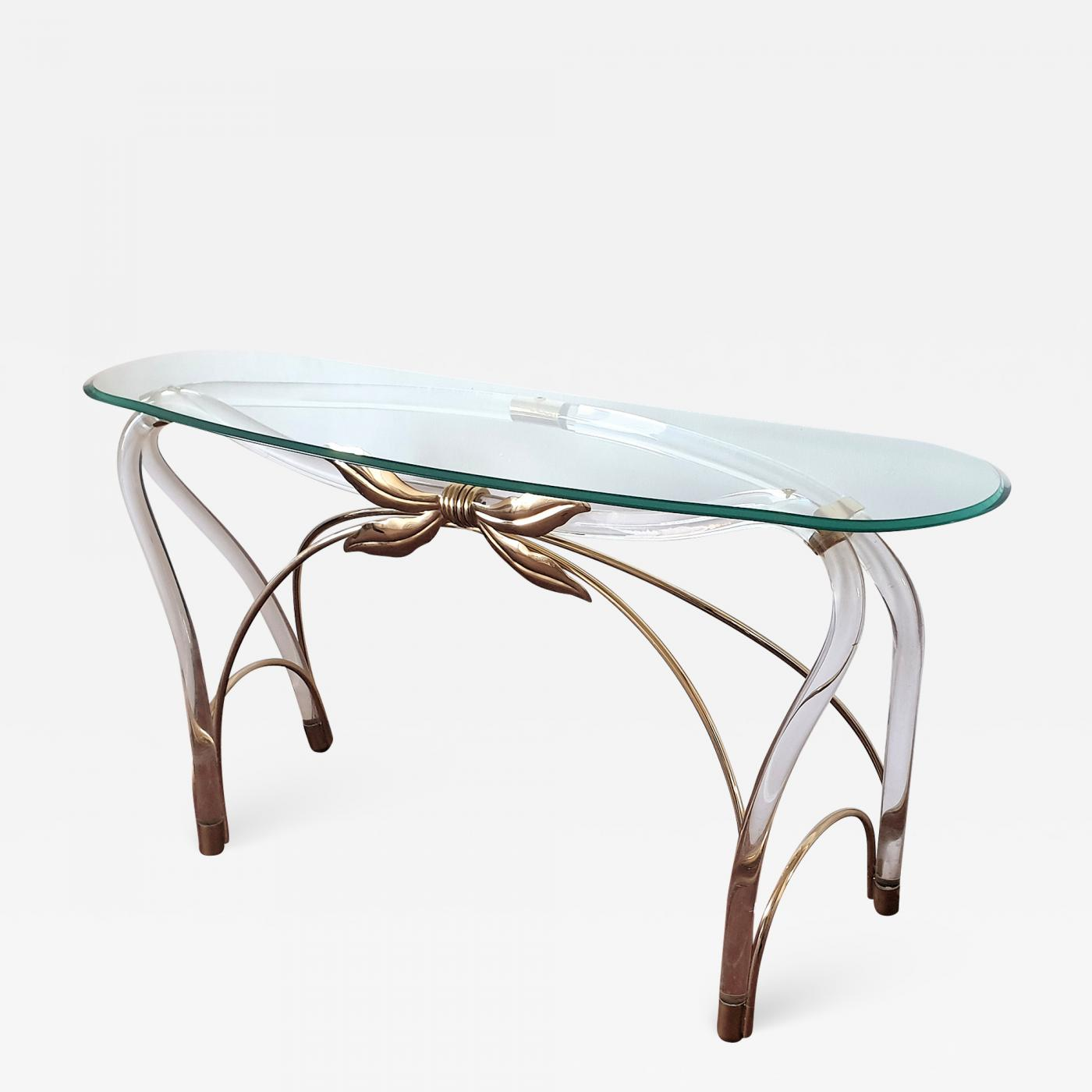Picture of: Large Organic Glass Brass Lucite Mid Century Modern Console Table Spain 1970s