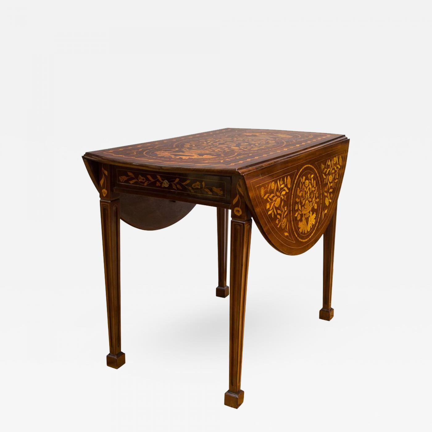 Listings / Furniture / Tables / Dining Tables · Late 18th Century Dutch  Marquetry Inlaid Walnut Drop Leaf Table