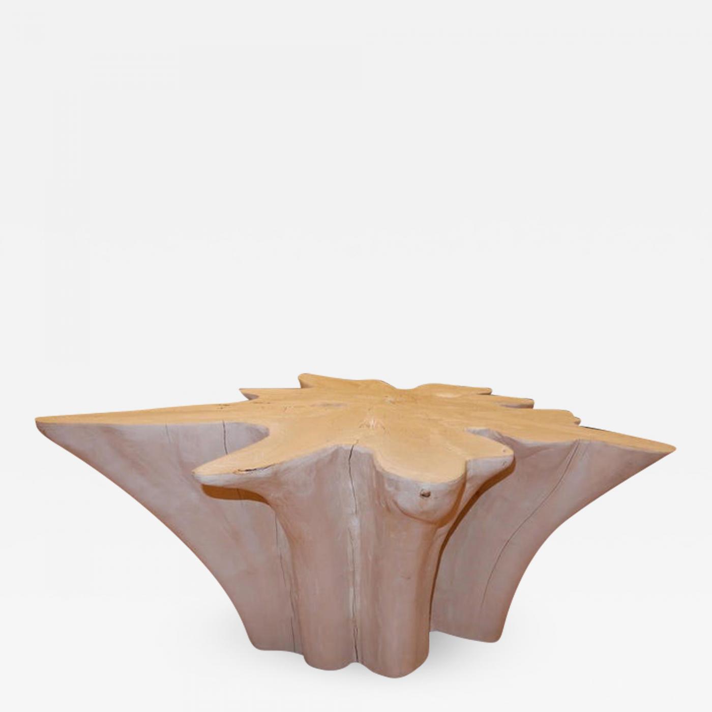 Live Edge Free Edge Bleached Teak Wood Root Coffee Table