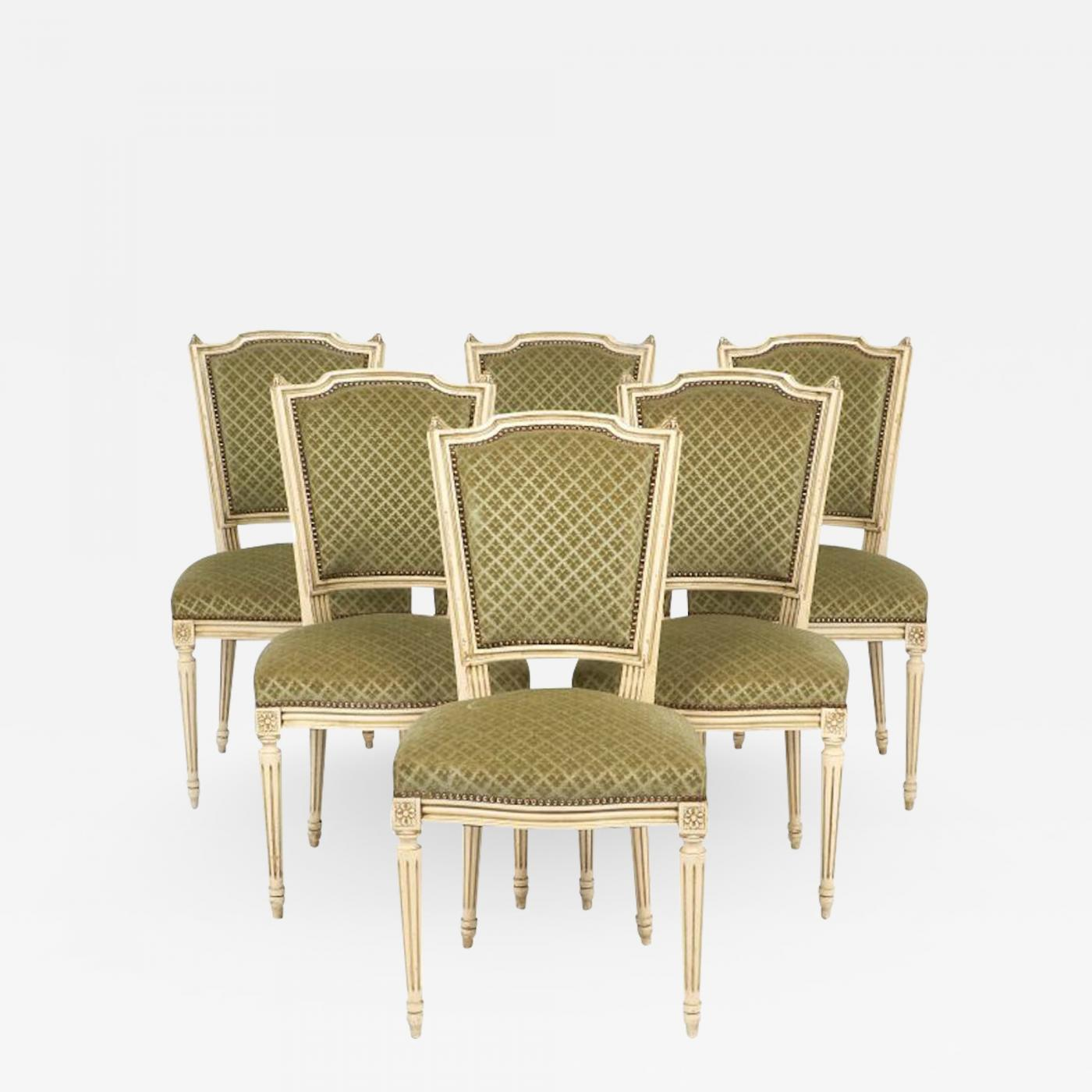 Listings / Furniture / Seating / Dining Chairs · Louis XVI Style French  Antique ... - Louis XVI-Style French Antique Sage Green Dining Chairs