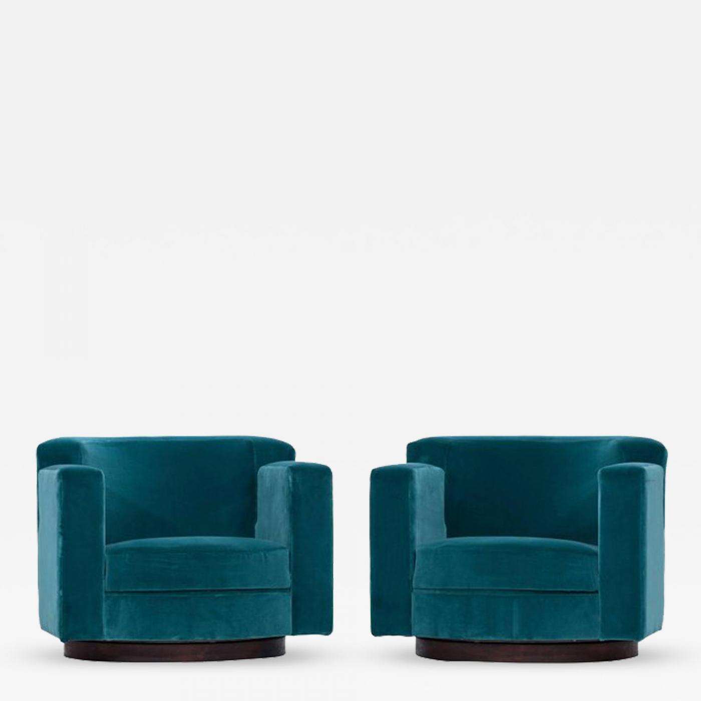 Wondrous Luciano Frigerio Pair Of Luciano Frigerio Blue Velvet Lounge Swivel Chairs Unemploymentrelief Wooden Chair Designs For Living Room Unemploymentrelieforg