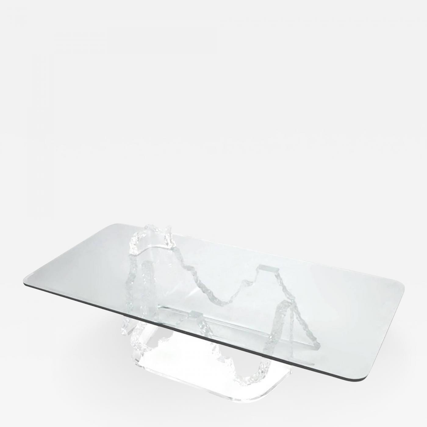 Lucite Coffee Table.Lucite And Glass Iceberg Coffee Table Lion In Frost Attributed