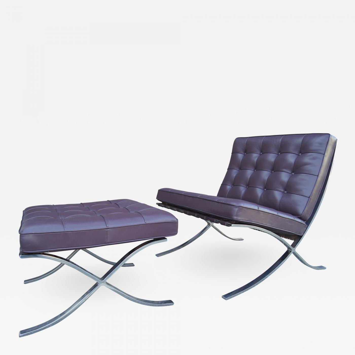 Ludwig Mies Van Der Rohe Eggplant Leather Barcelona Chair And Ottoman By Mies Van Der Rohe For Knoll