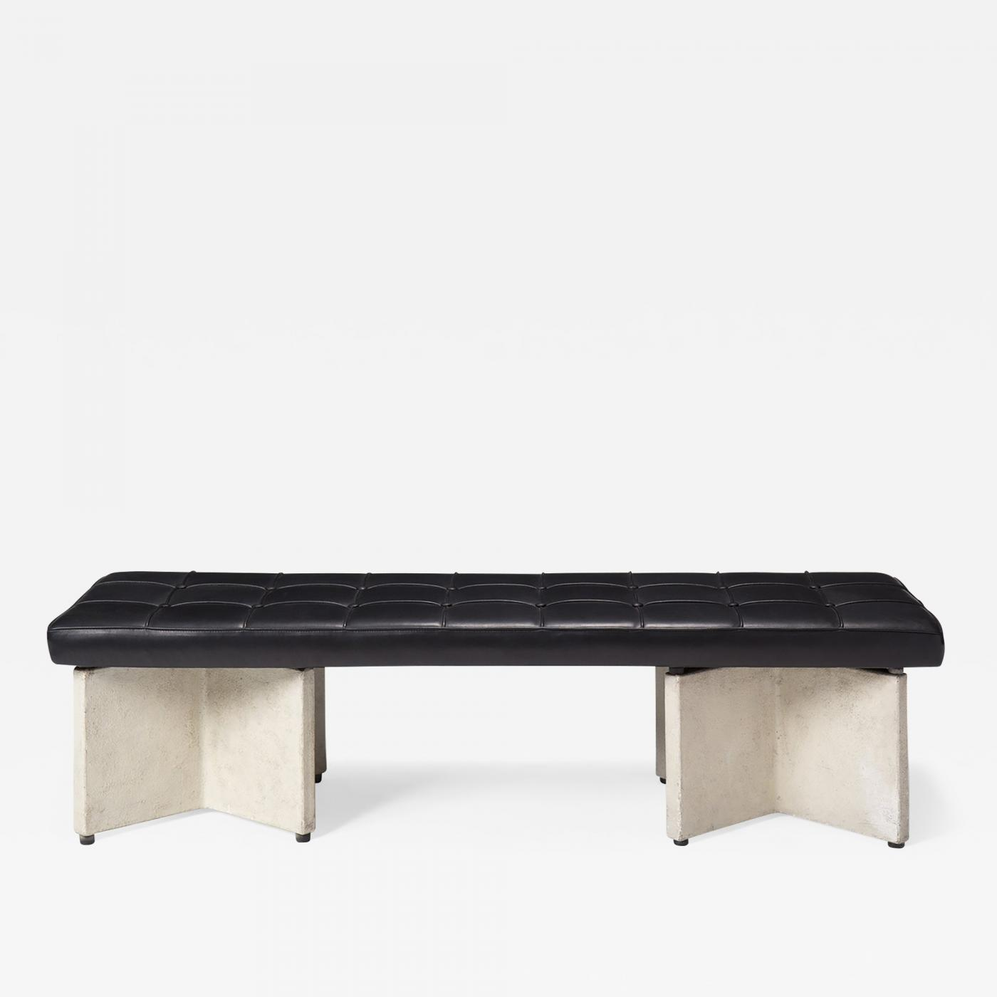 Ludwig Mies Van Der Rohe Concrete And Leather Bench