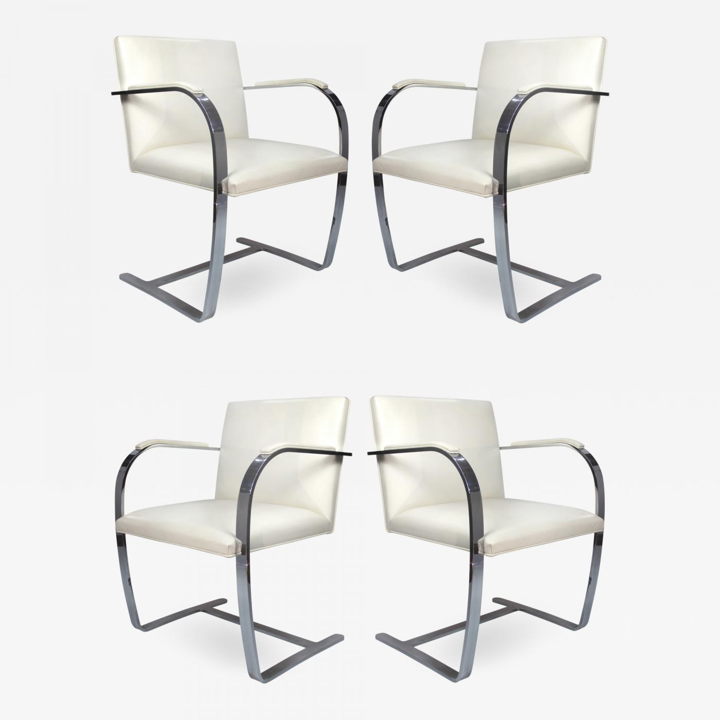 Awe Inspiring Ludwig Mies Van Der Rohe Mies Van Der Rohe Knoll Flat Bar Brno Chairs Eggshell White Leather Set Of 4 Ibusinesslaw Wood Chair Design Ideas Ibusinesslaworg