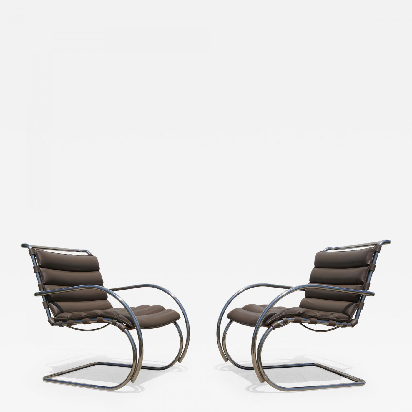 Fine Ludwig Mies Van Der Rohe Pair Of Brown Leather Mr Lounge Armchairs By Mies Van Der Rohe For Knoll Squirreltailoven Fun Painted Chair Ideas Images Squirreltailovenorg