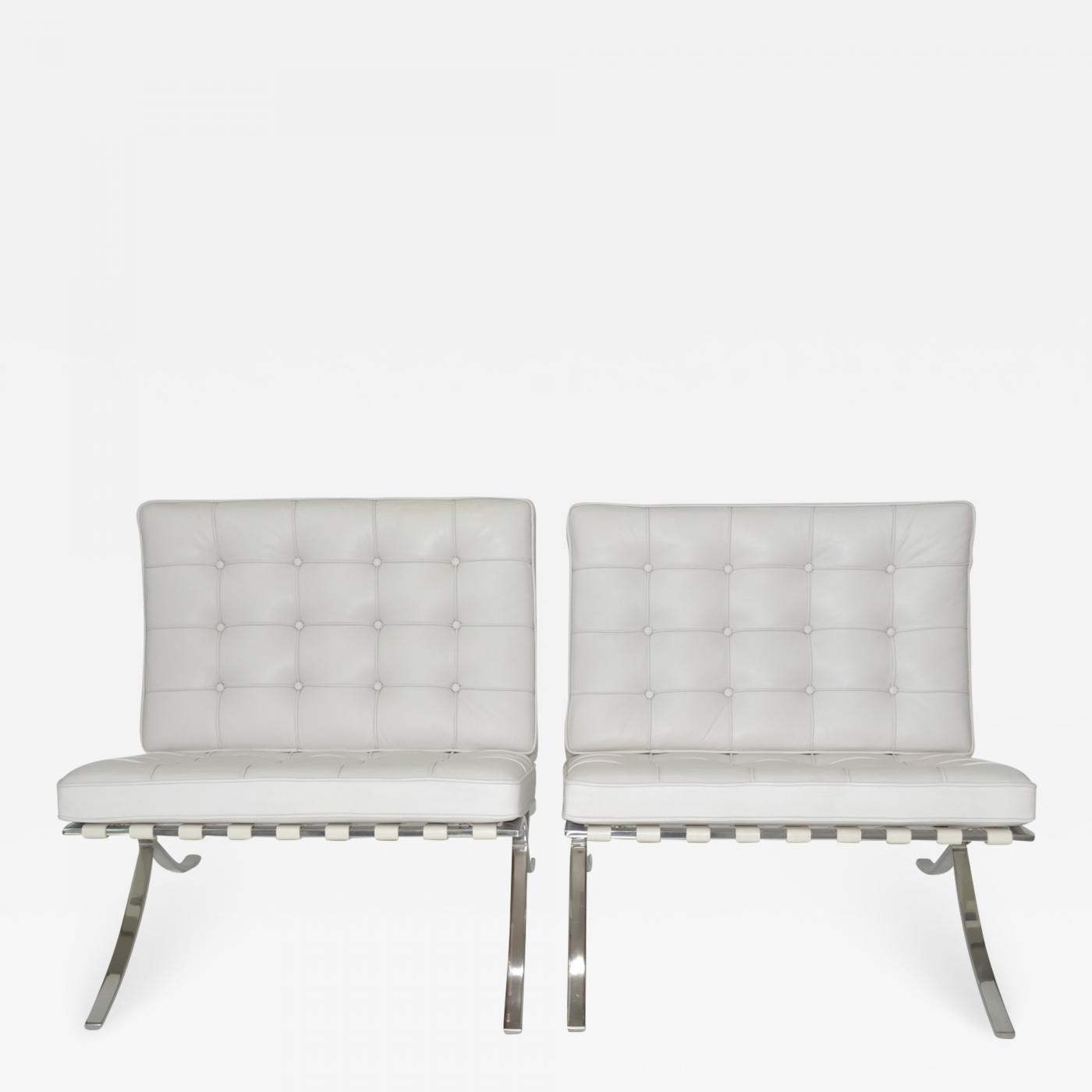 Stupendous Ludwig Mies Van Der Rohe Pair Of Knoll Barcelona Lounge Chairs In White Sabrina Leather C 1997 Uwap Interior Chair Design Uwaporg