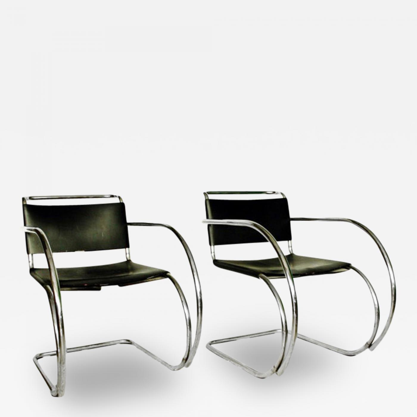 ludwig mies van der rohe pair of mr 20 lounge chairs mies van der rohe. Black Bedroom Furniture Sets. Home Design Ideas