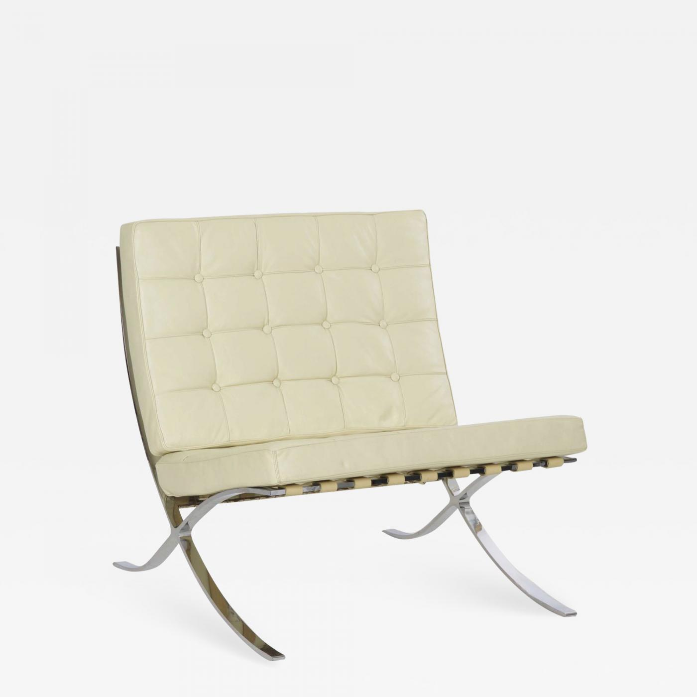 Ludwig Mies Van Der Rohe White Leather Barcelona Chair After