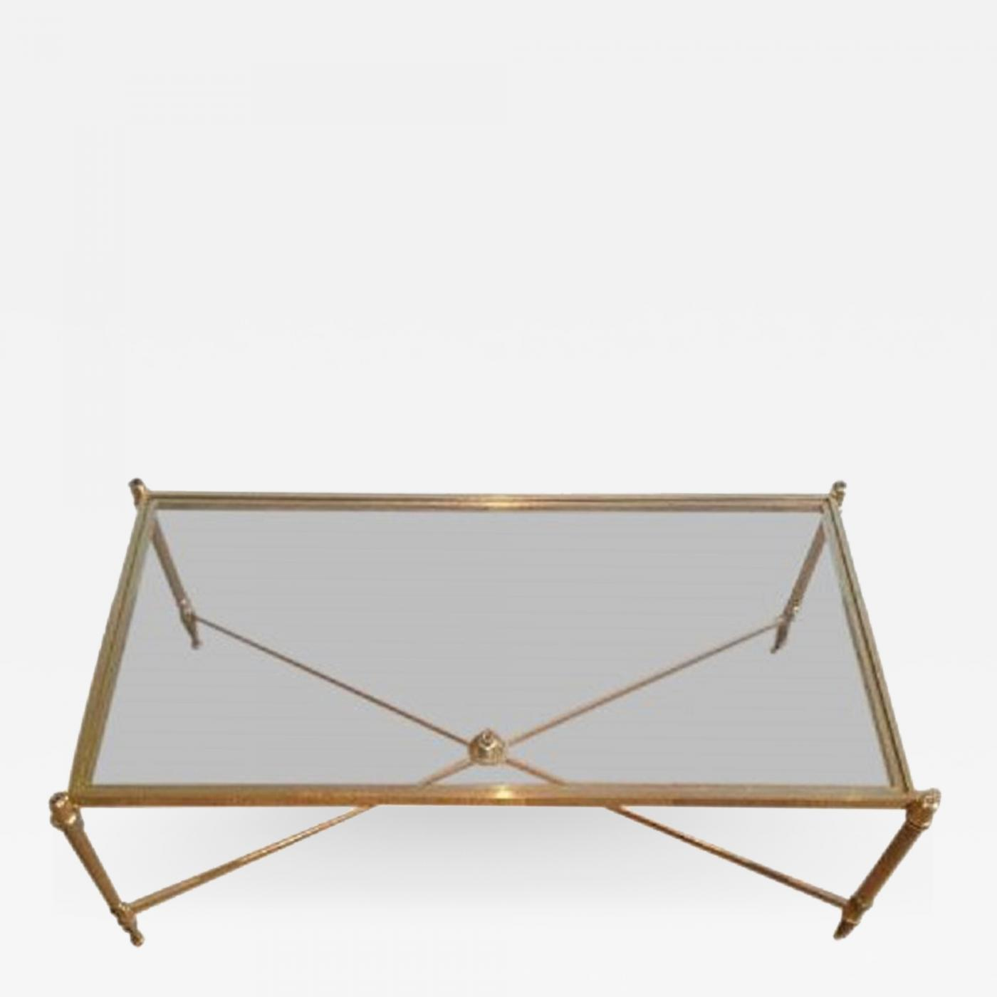 Mid Century Brass Coffee Table With Clear Glass Top Cross Stretcher