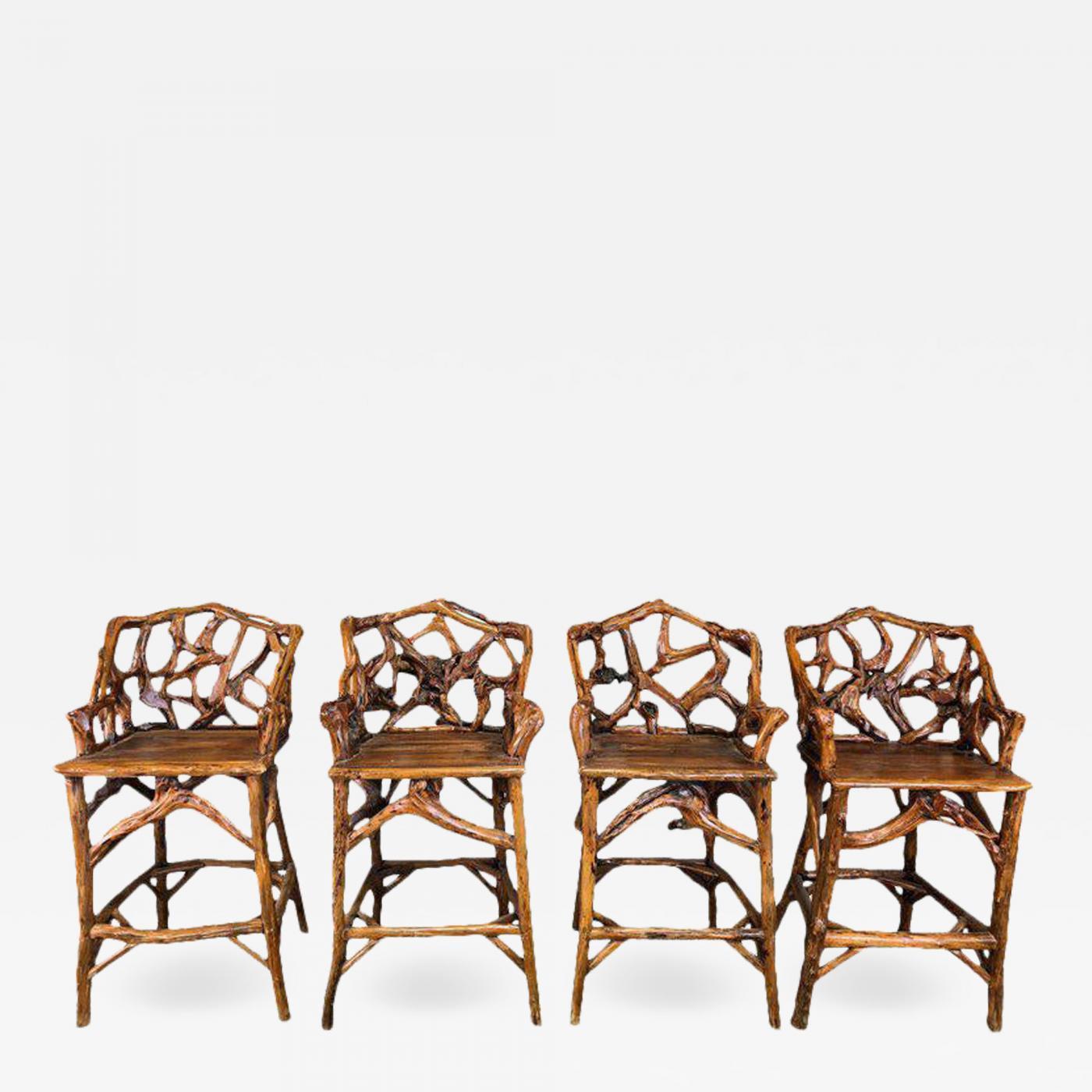 Image of: Mid Century Organic Modern Wood Bar Stools Set Of 4