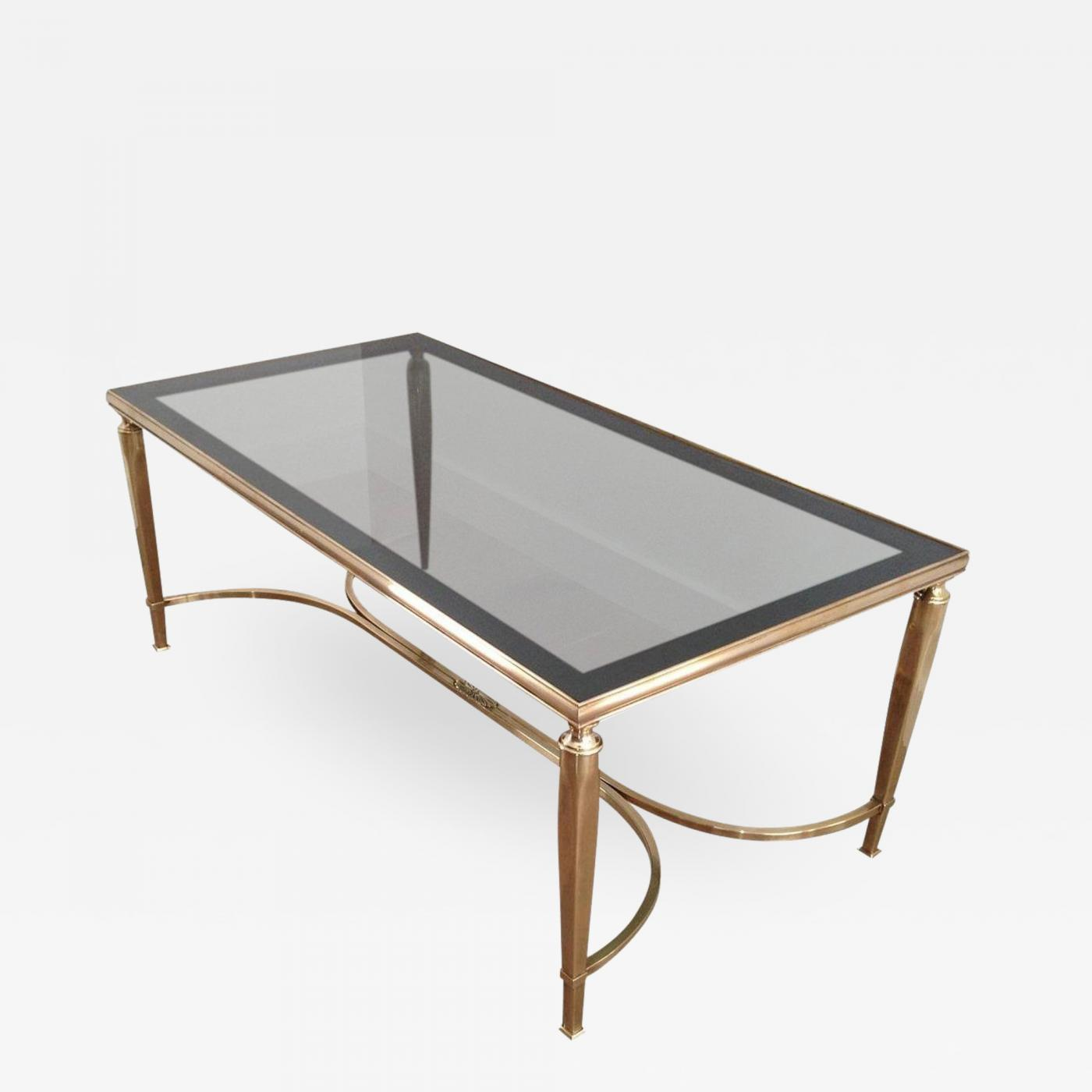 Picture of: Mid Century Solid Brass Coffee Table With Smoke Glass Curved Stretcher