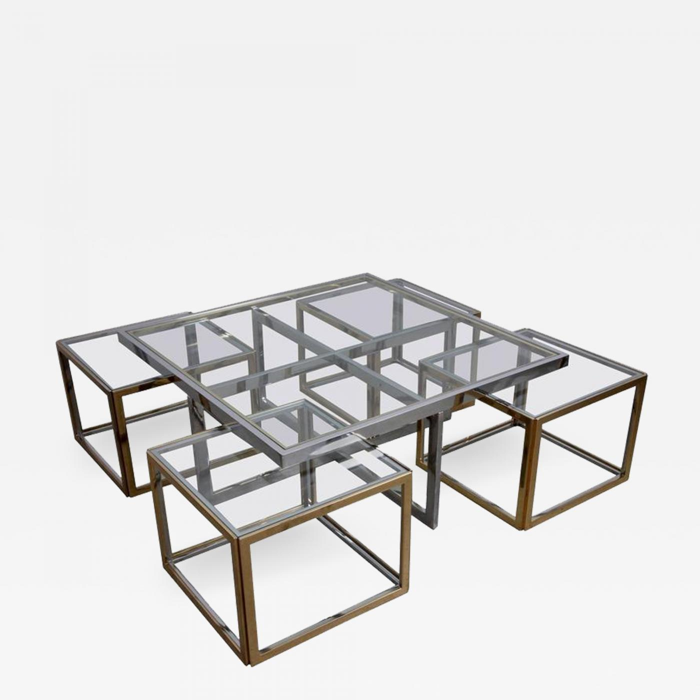 Admirable Maison Charles Huge Coffee Table In Brass And Chrome With Four Nesting Tables By Maison Charles Creativecarmelina Interior Chair Design Creativecarmelinacom