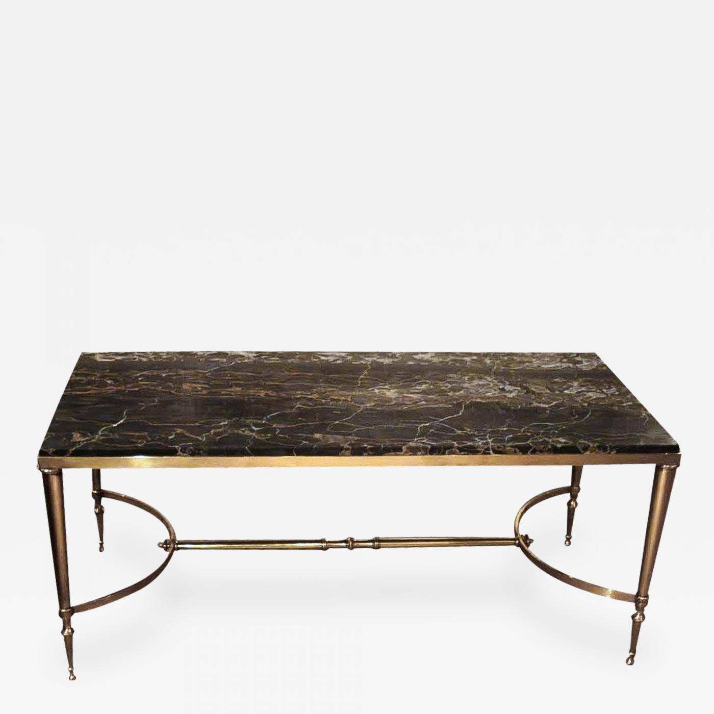 Marble Top Brass Coffee Table.Maison Jansen 1950 Maison Jansen Brass Coffee Table With Black Marble Top