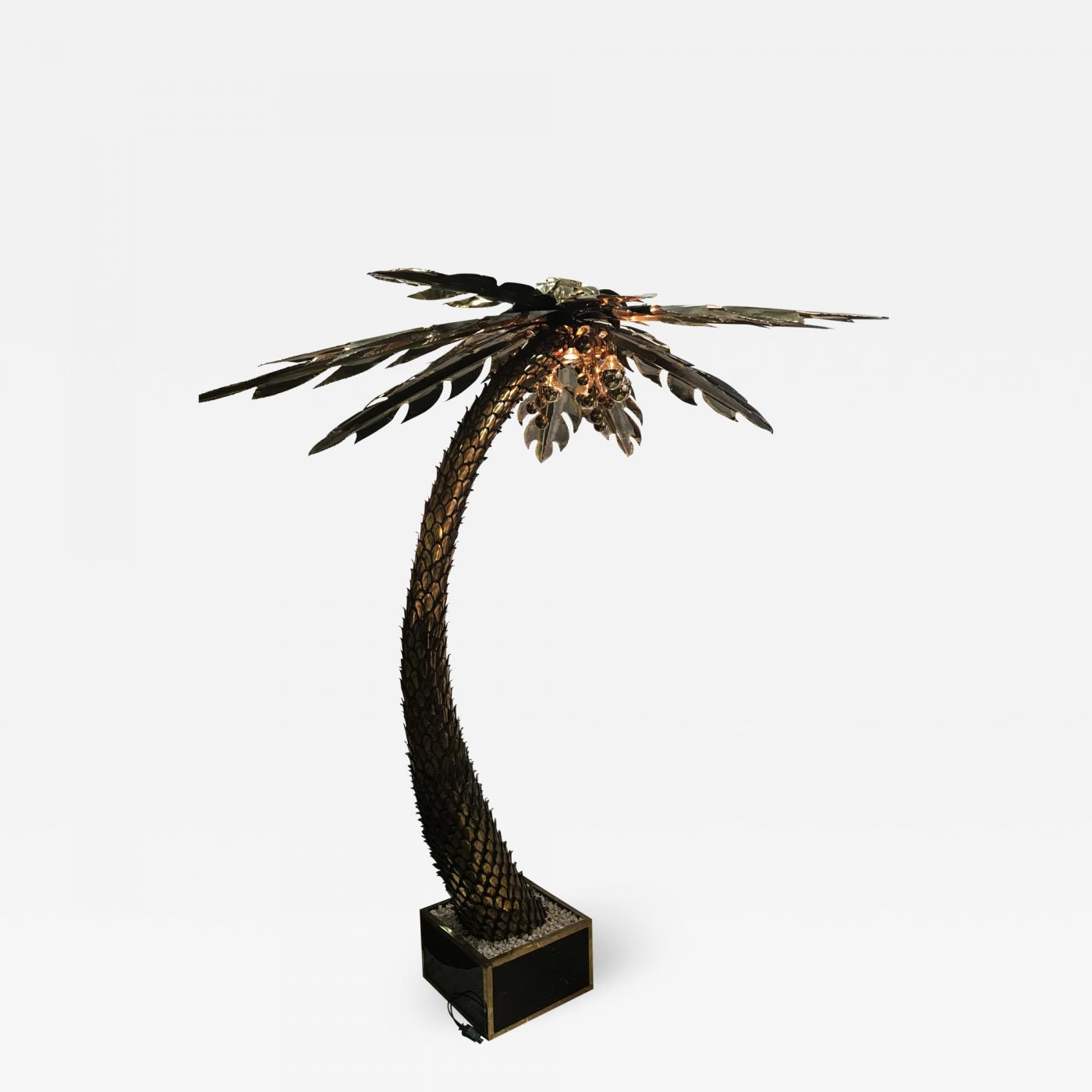 Maison Jansen - Maison Jansen Brass Palm Tree Floor Lamp