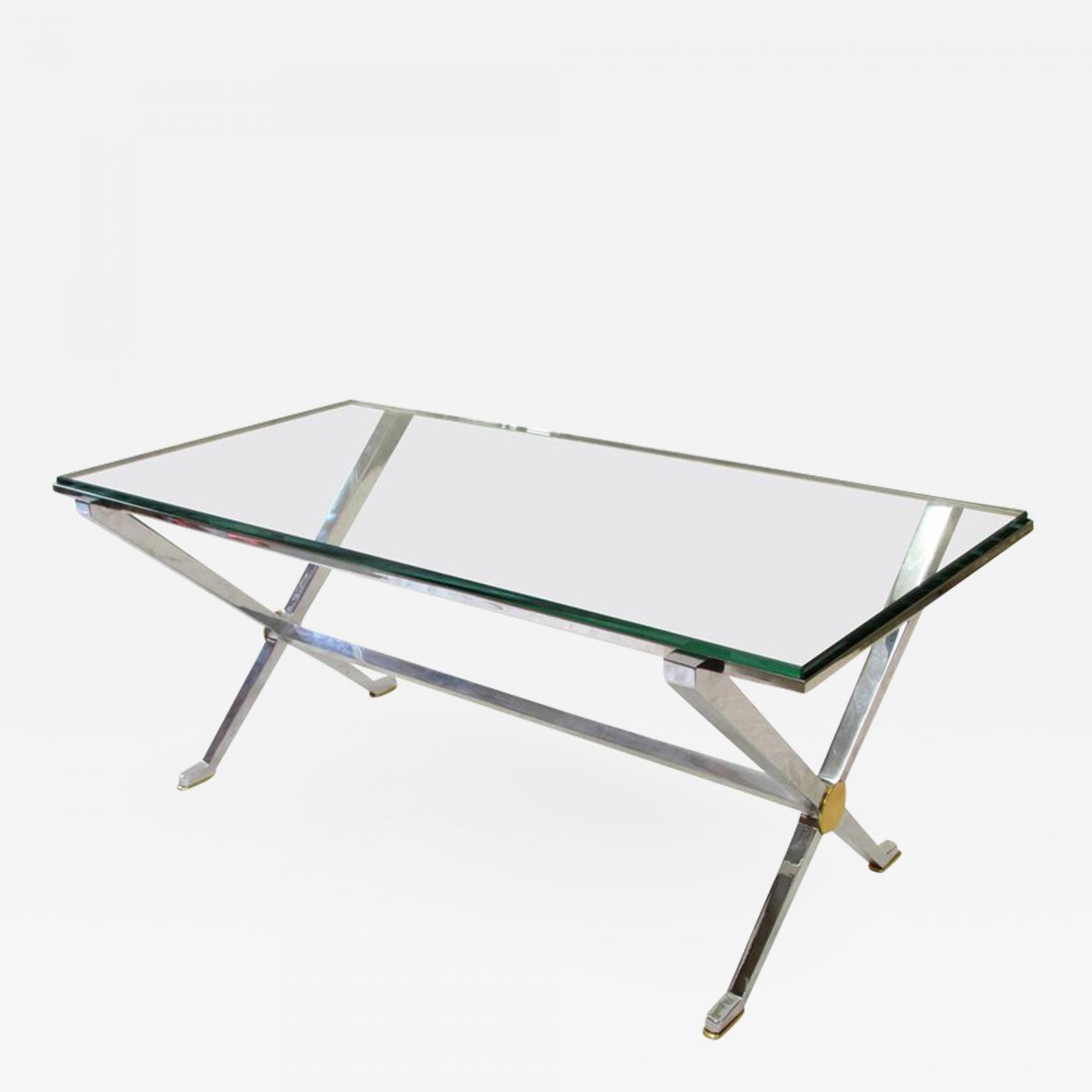 Maison Jansen Chrome And Brass X Base Coffee Table