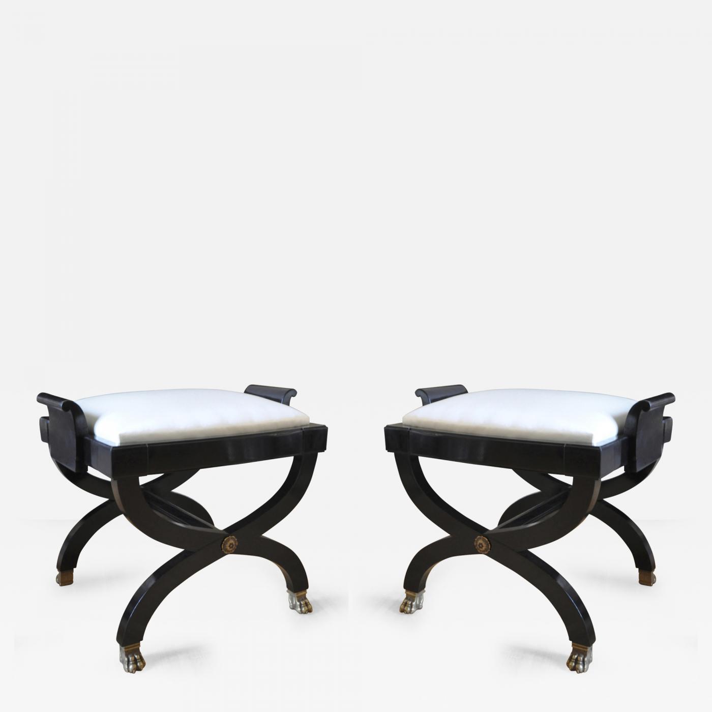 Fabulous Maison Jansen Maison Jansen Superb Pair Of X Black Stool Beatyapartments Chair Design Images Beatyapartmentscom
