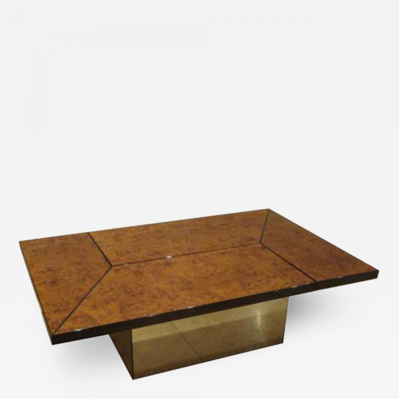 Maison Lancel Opening Cocktail Table in Burl Walnut and Mirror