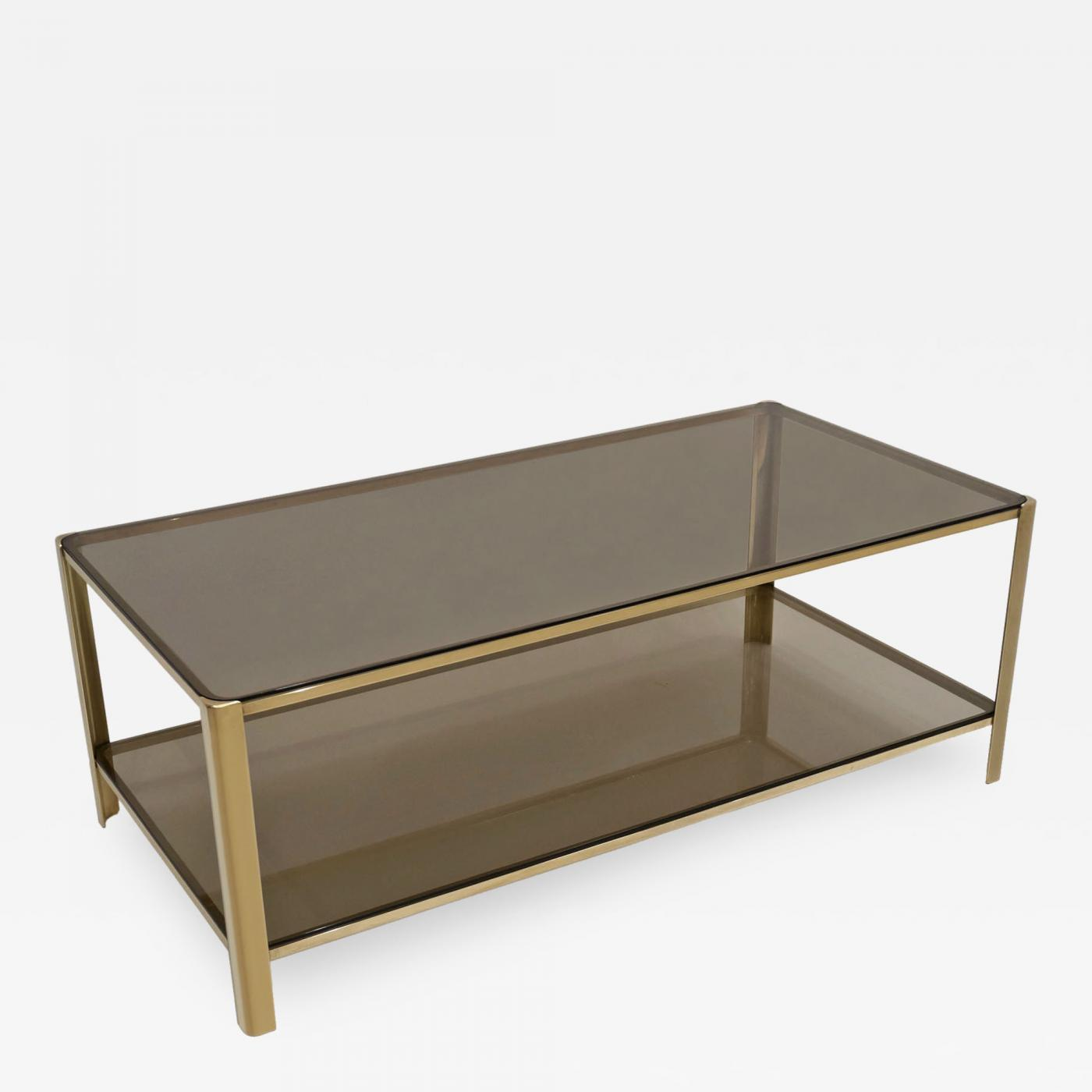 Maison Malabert Mid Century Brass And Glass Smoked Glass Two Tiered Coffee Table By Malabert