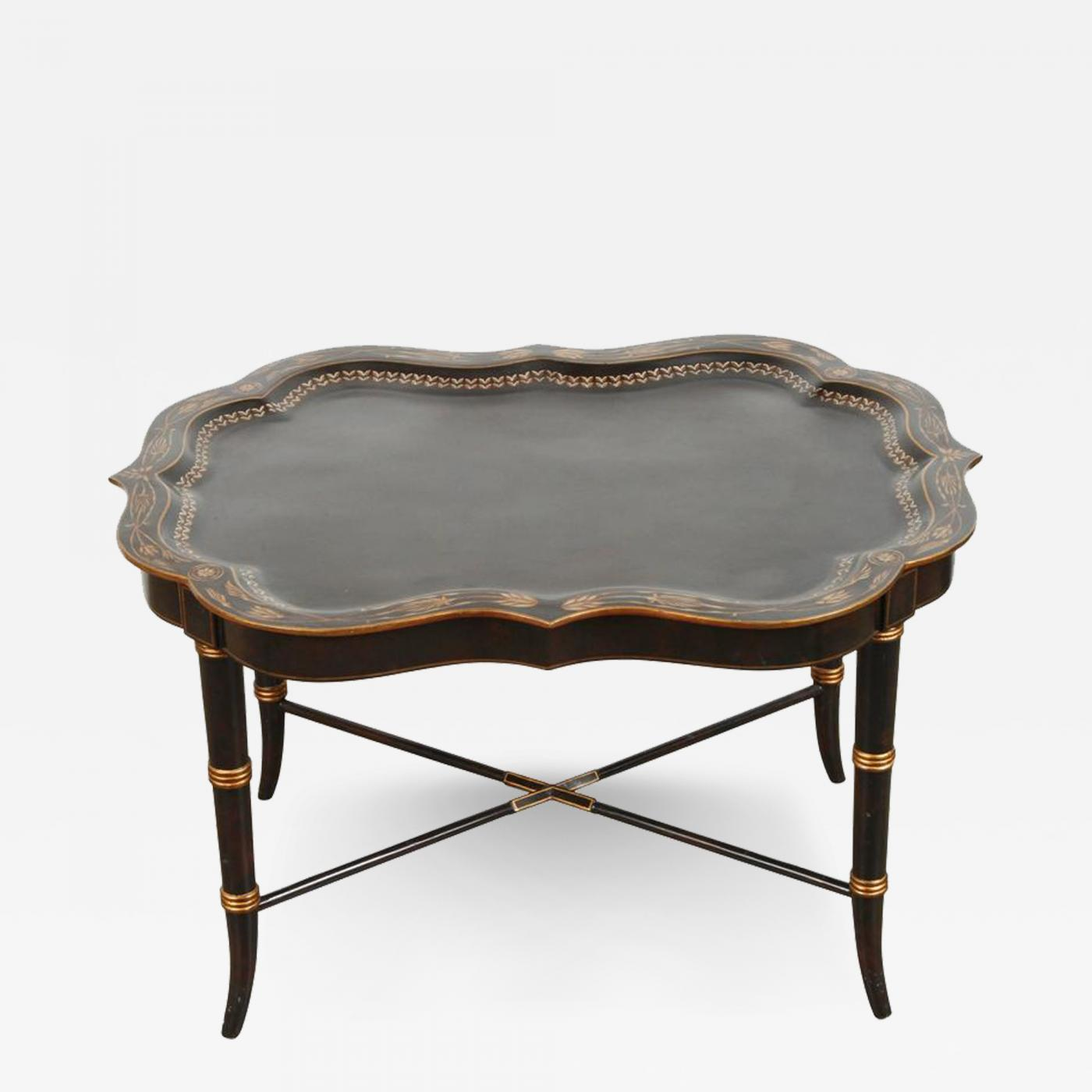 Maitland smith hand painted black tray coffee table by maitland listings furniture tables serving tables maitland smith hand painted black tray coffee geotapseo Image collections