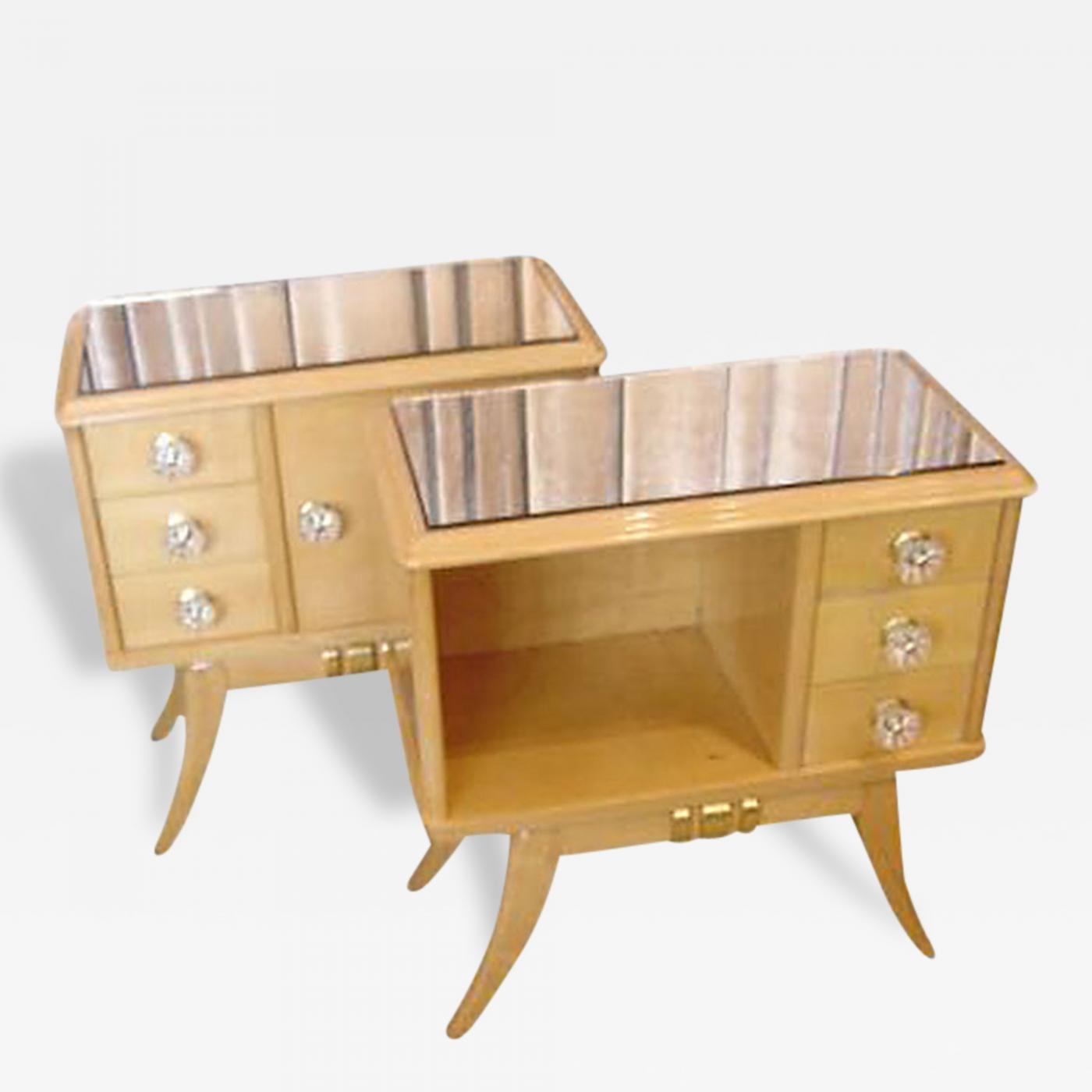 Listings / Furniture / Case Pieces / Night Stands · Maple Art Deco Night  Stands End Tables Pair