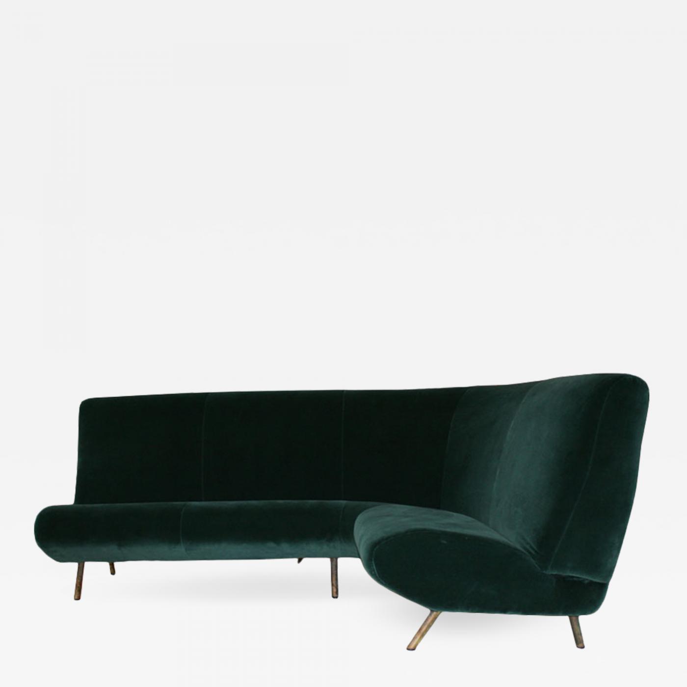 Marco Zanuso - Marco Zanuso Mid-Century Modern Triennale Corner Green  Velvet Italian Sofa