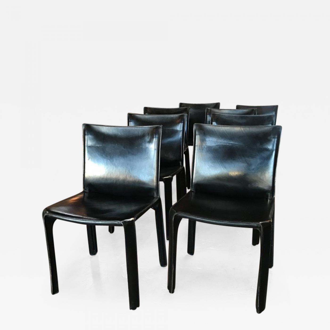Cassina Chairs, Model Cab Nr. 412, Mario Bellini In Black Leather, Set Of  Eight