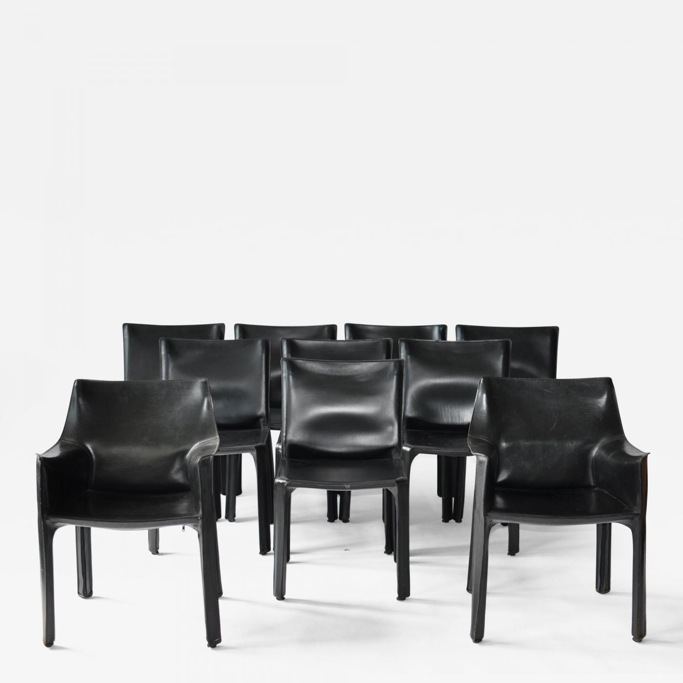 Terrific Mario Bellini Set Of Ten Black Leather Cab Chairs By Mario Bellini For Cassina Ocoug Best Dining Table And Chair Ideas Images Ocougorg