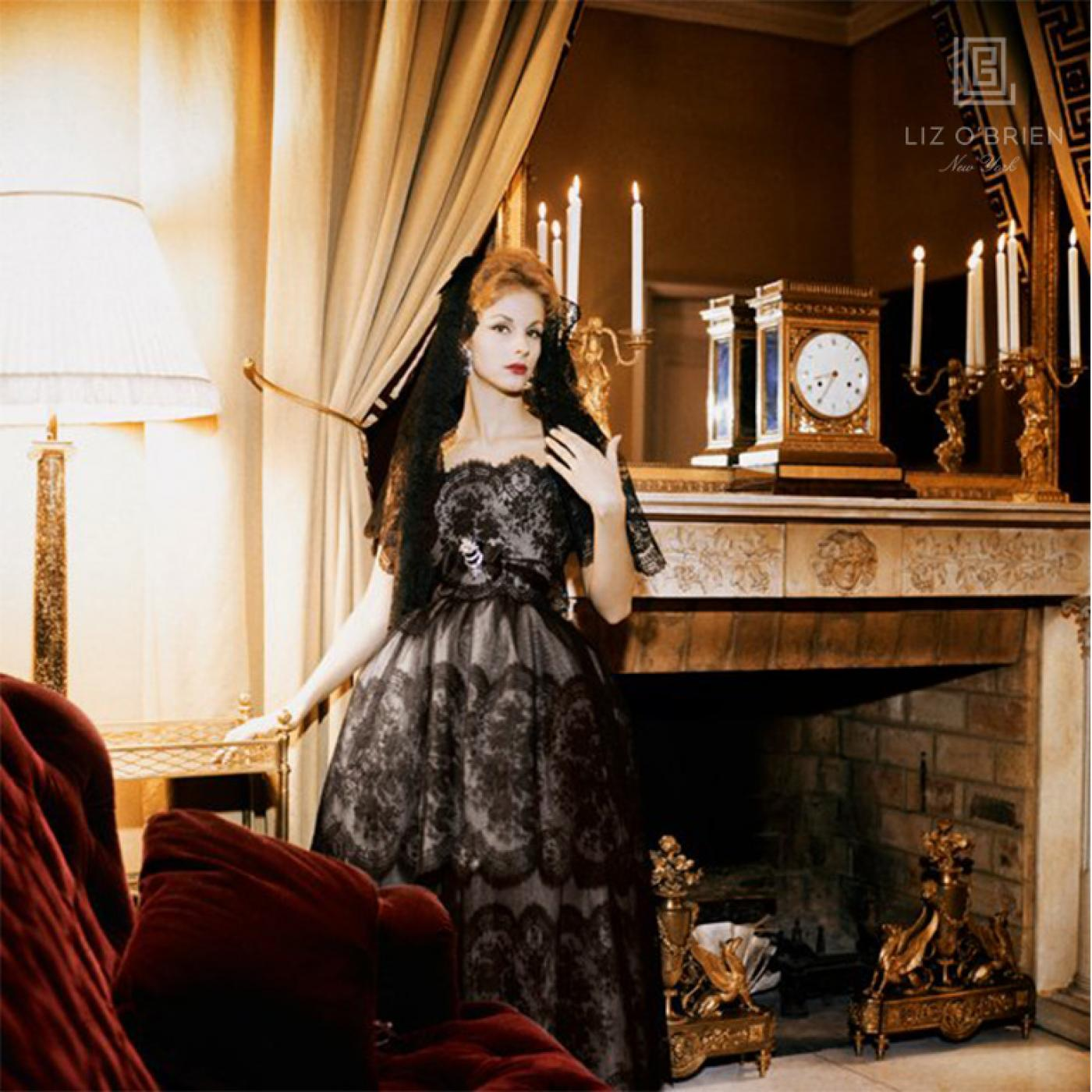 Mark Shaw - Mrs. Patrick Guinness in Dior Black Lace Gown