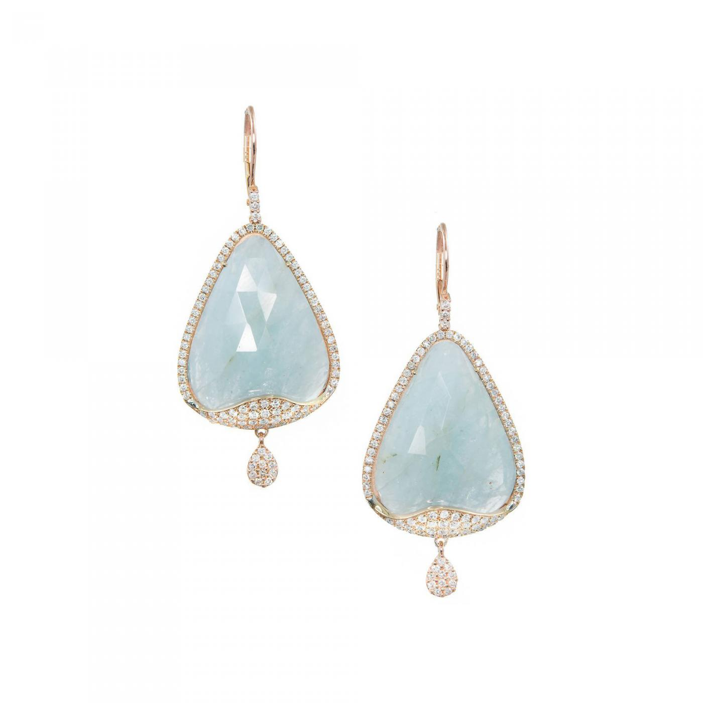 9f35aaf54692f3 Meira T Aquamarine Diamond Micro-Pave Rose Gold Dangle Earrings