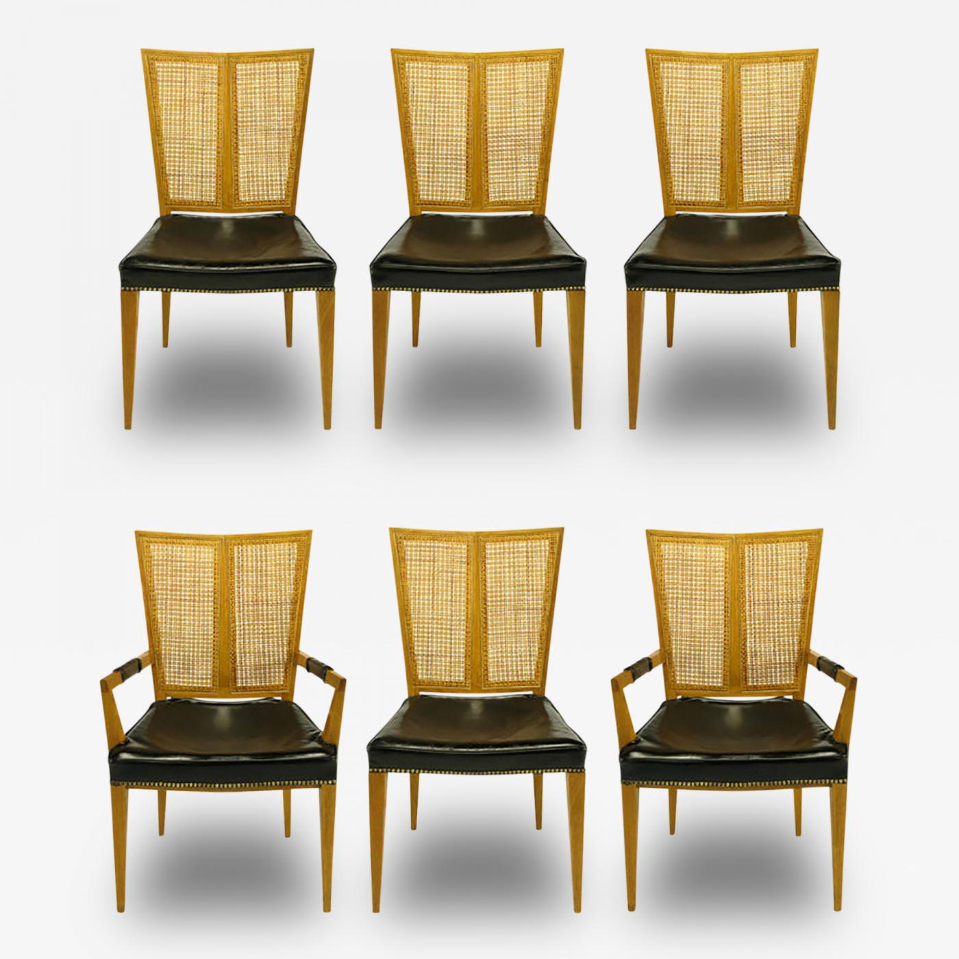 Michael Taylor Set Of Six Michael Taylor For Baker Walnut And Leather Dining Chairs
