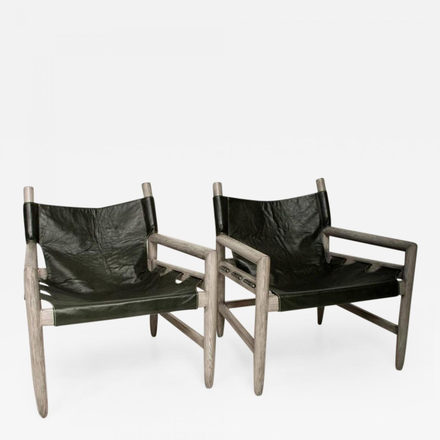 Michel Arnoult Mid Century Modern Pair of Safari Lounge Chairs