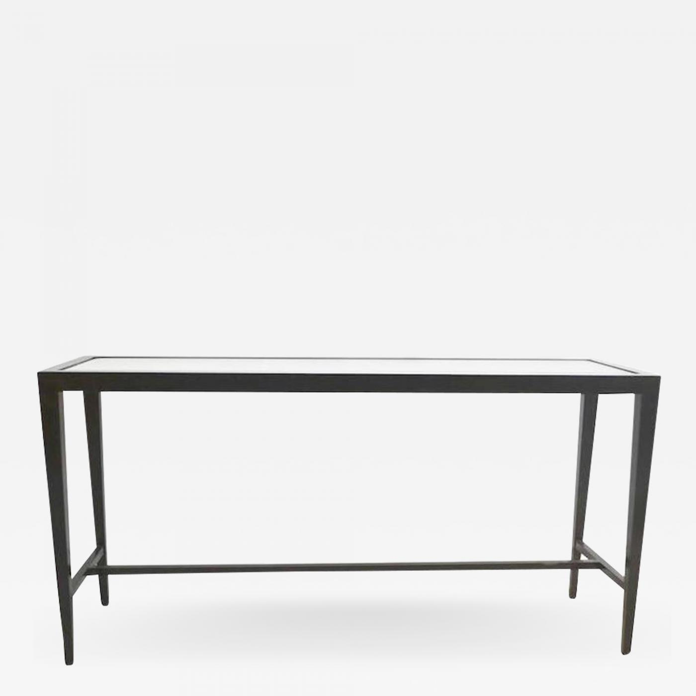 Mid-Century Black Lacquered Console Table