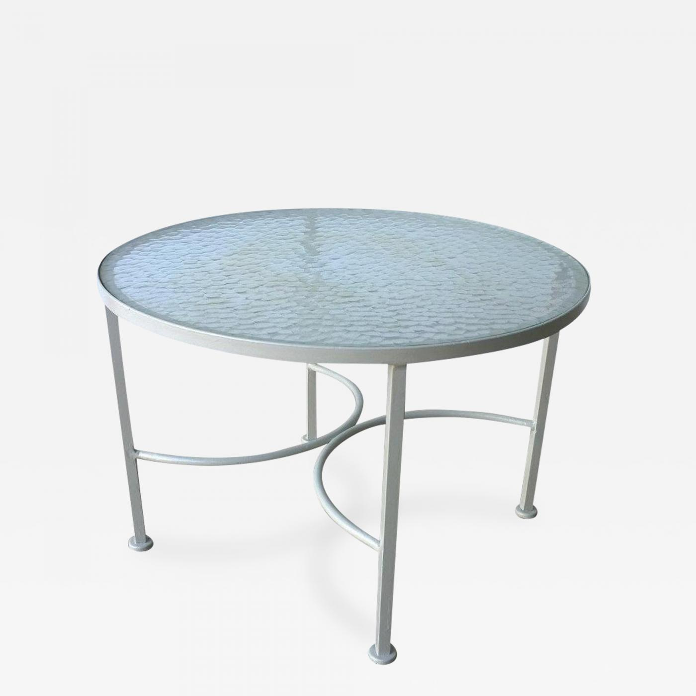 Mid Century Bob Anderson Newly Painted Wrought Iron And Glass Patio Side Table