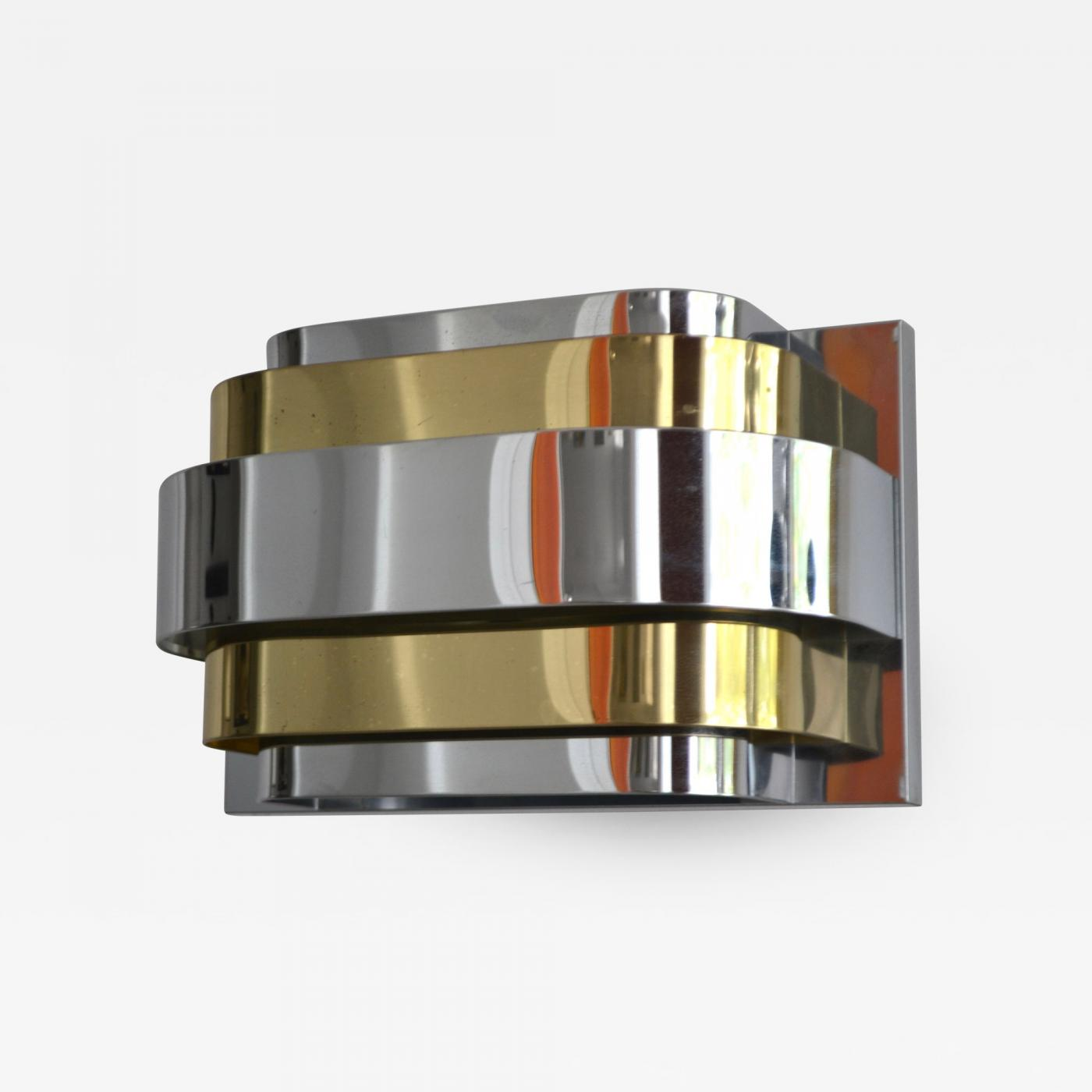 Image of: Mid Century Brass And Chrome Wall Sconce