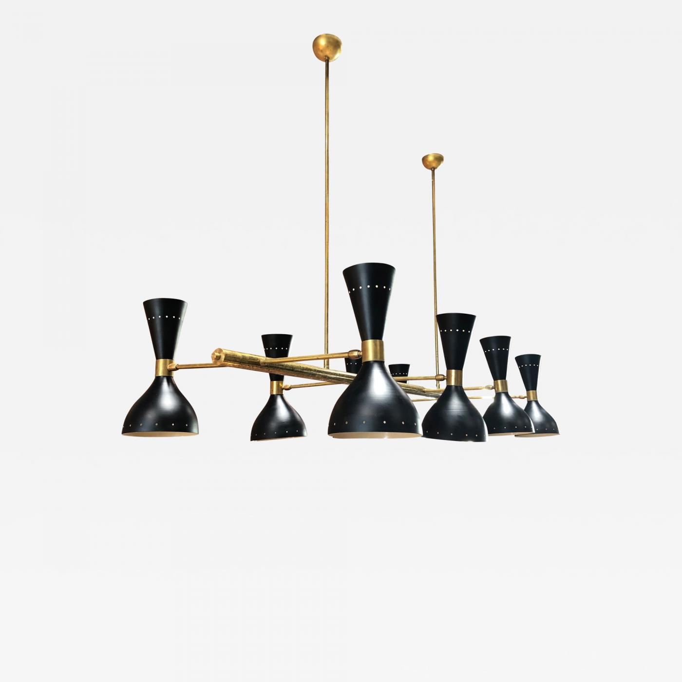 Mid Century Chandelier In Brass And Lacquered Metal With 8 Lights Italy 1960s