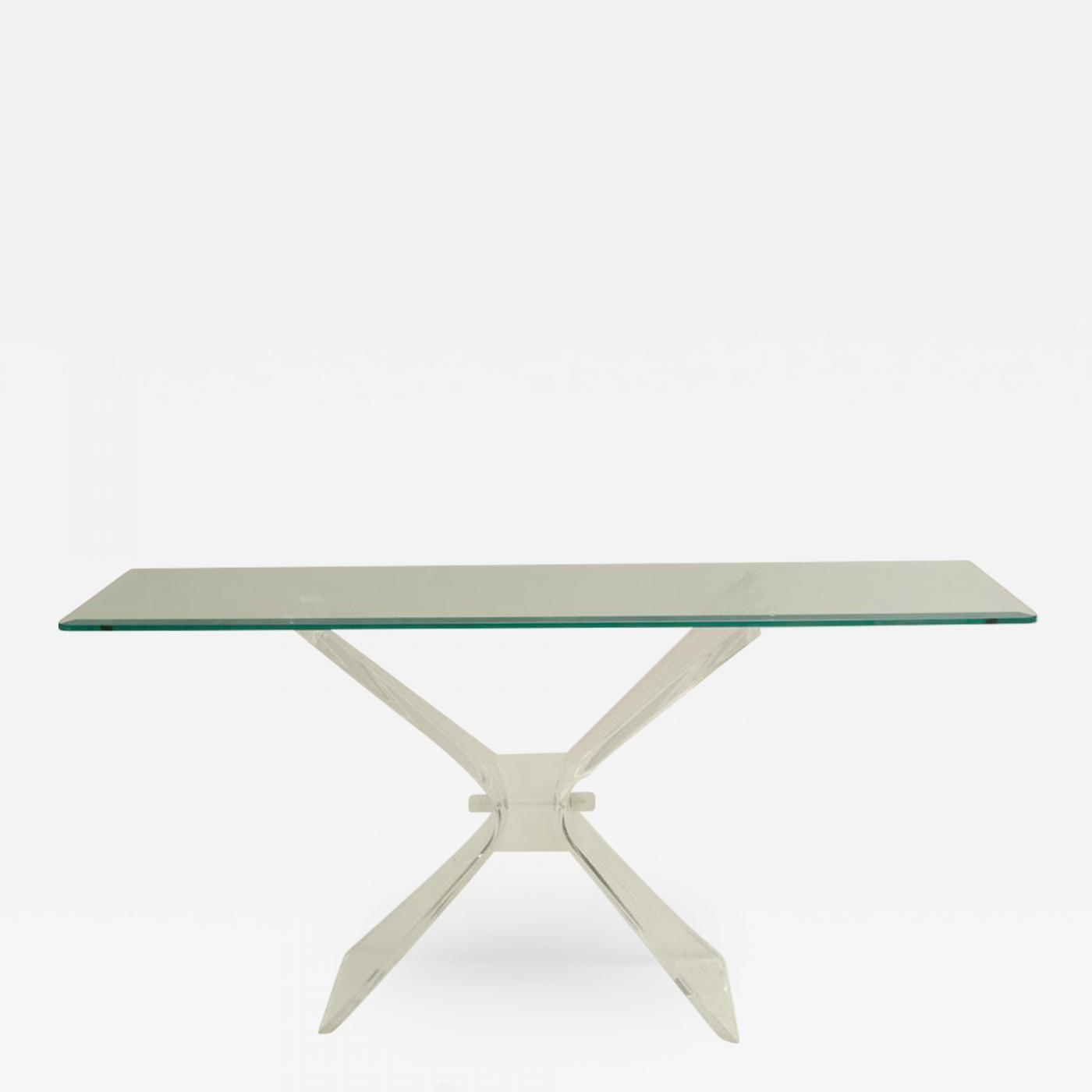 huge discount 99e66 85ab5 Mid-Century Console with Butterfly Lucite Base and Beveled Glass Top