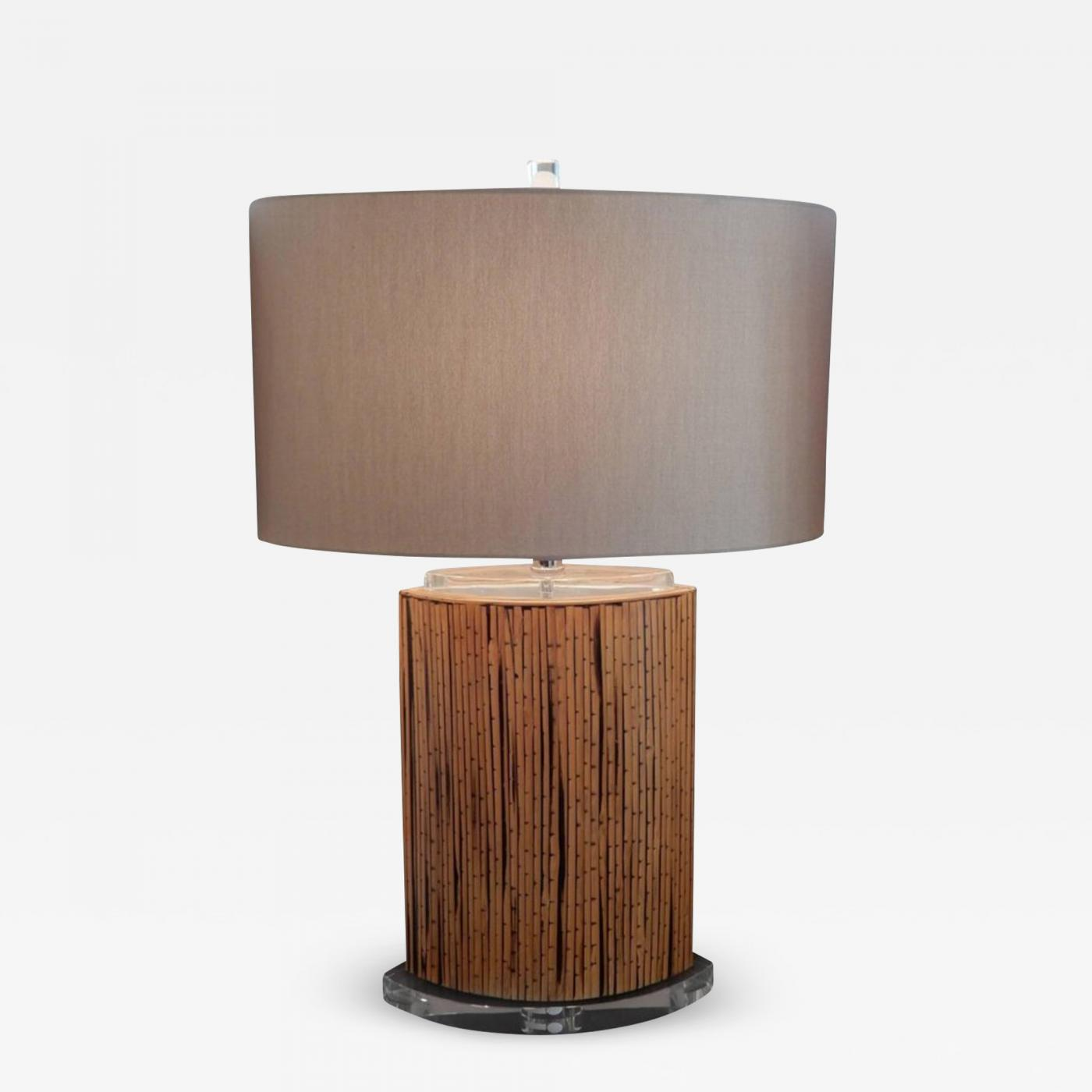 Mid Century Danish Modern Bamboo And Lucite Table Lamp