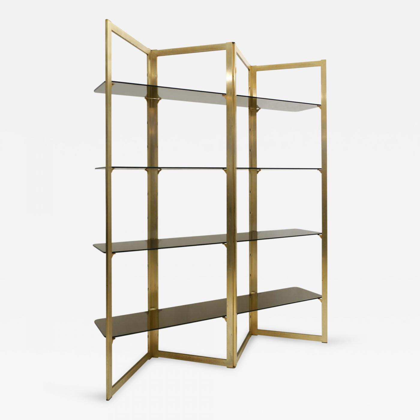 Mid Century Folded Brass Etagere with Four Glass Shelves, France ...