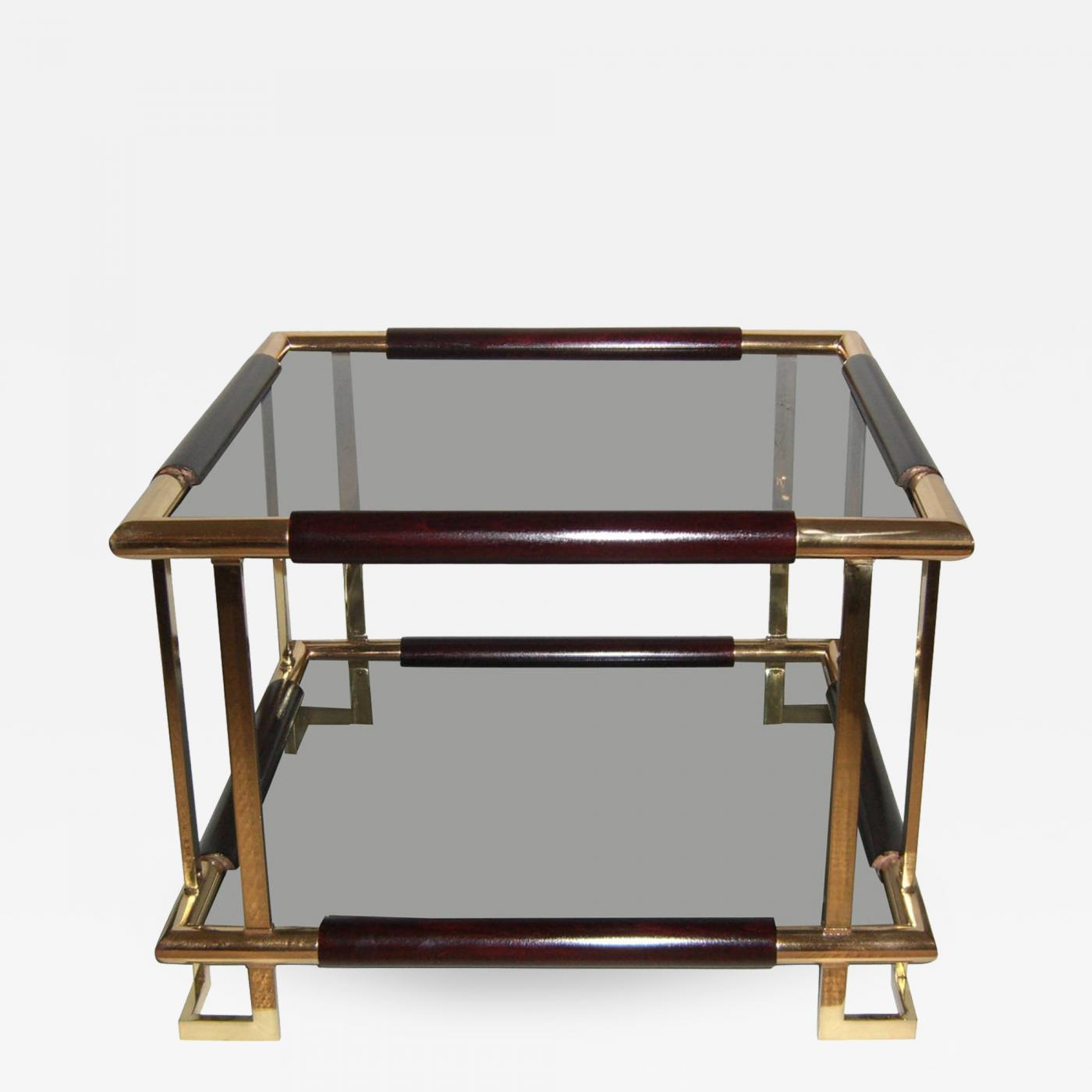 Mid Century French Brass Wood And Smoked Glass Side Table