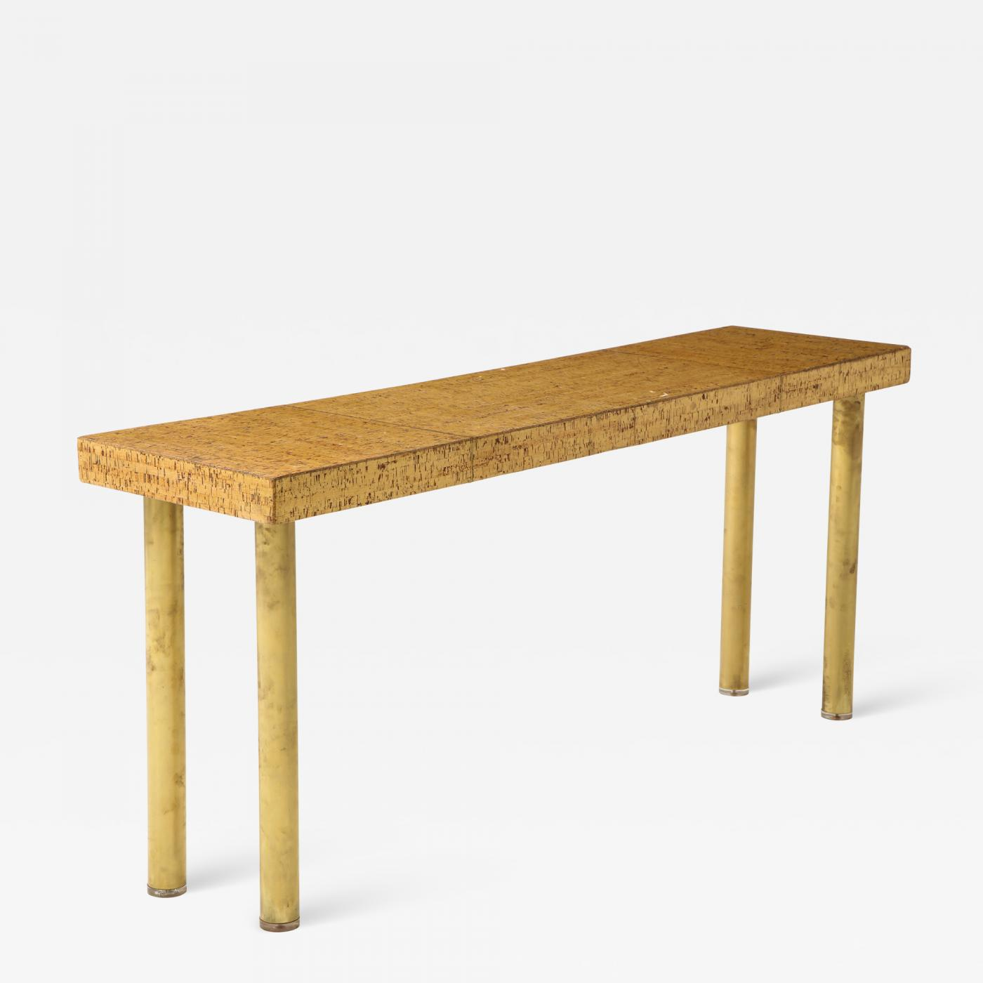 Mid-Century French Cork + Brass Console Table