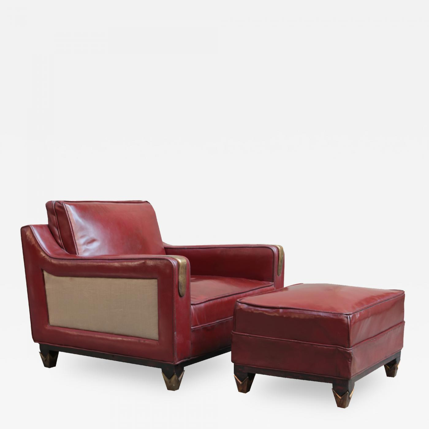 Mid Century Leather Club Chair With Matching Ottoman