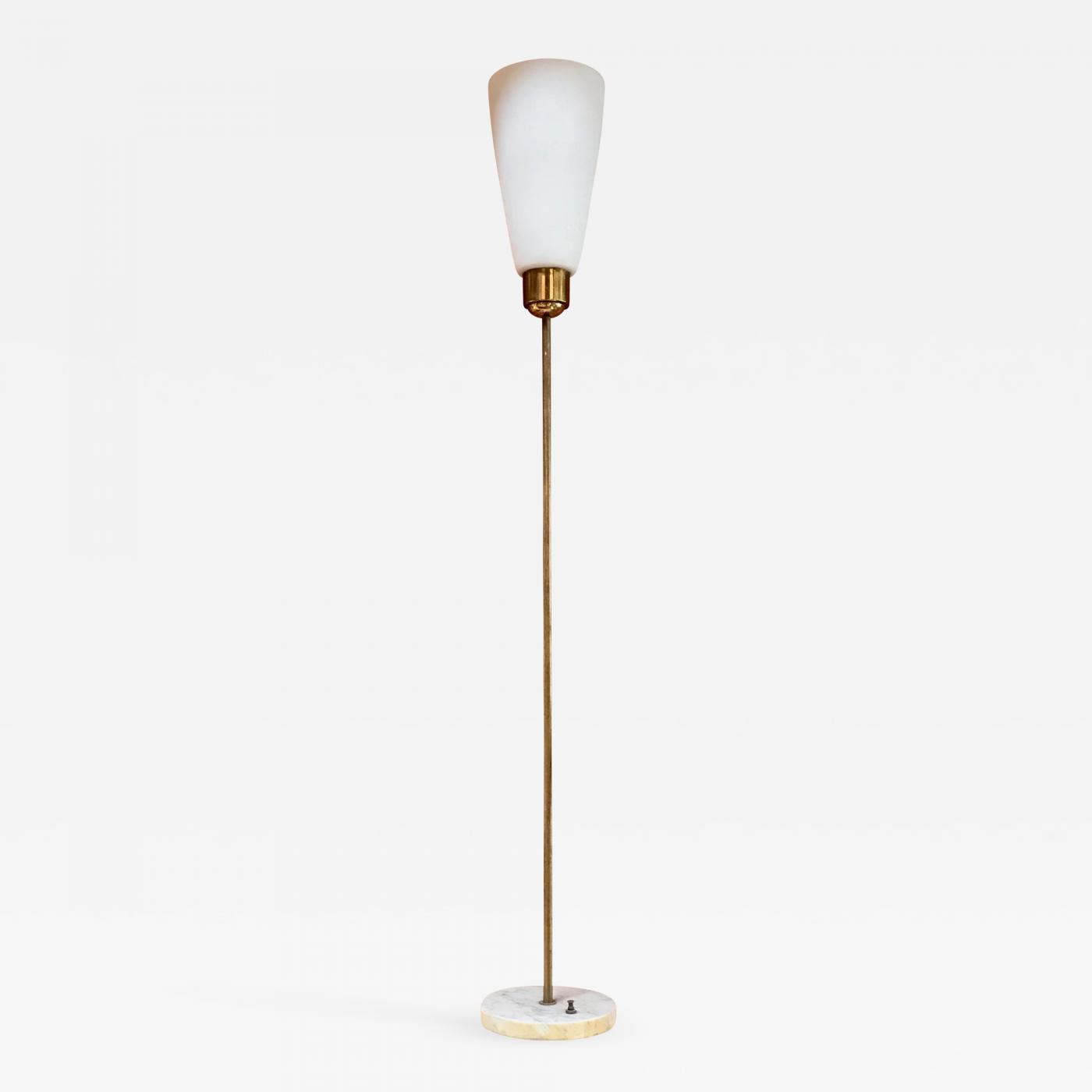 Mid Century Minimal Brass Floor Lamp With Marble Base Italy 1950s