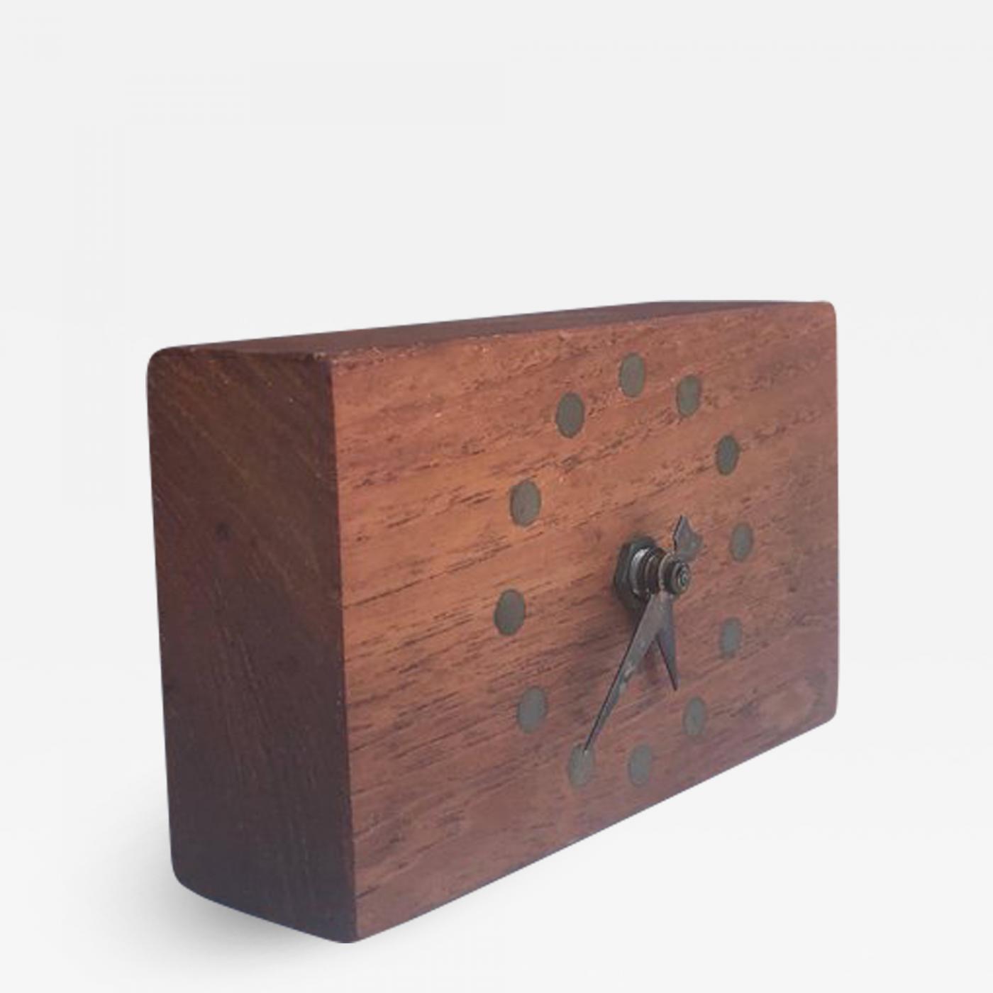 Mid-Century Modern Electric Table Clock Teak and Brass Stilecraft