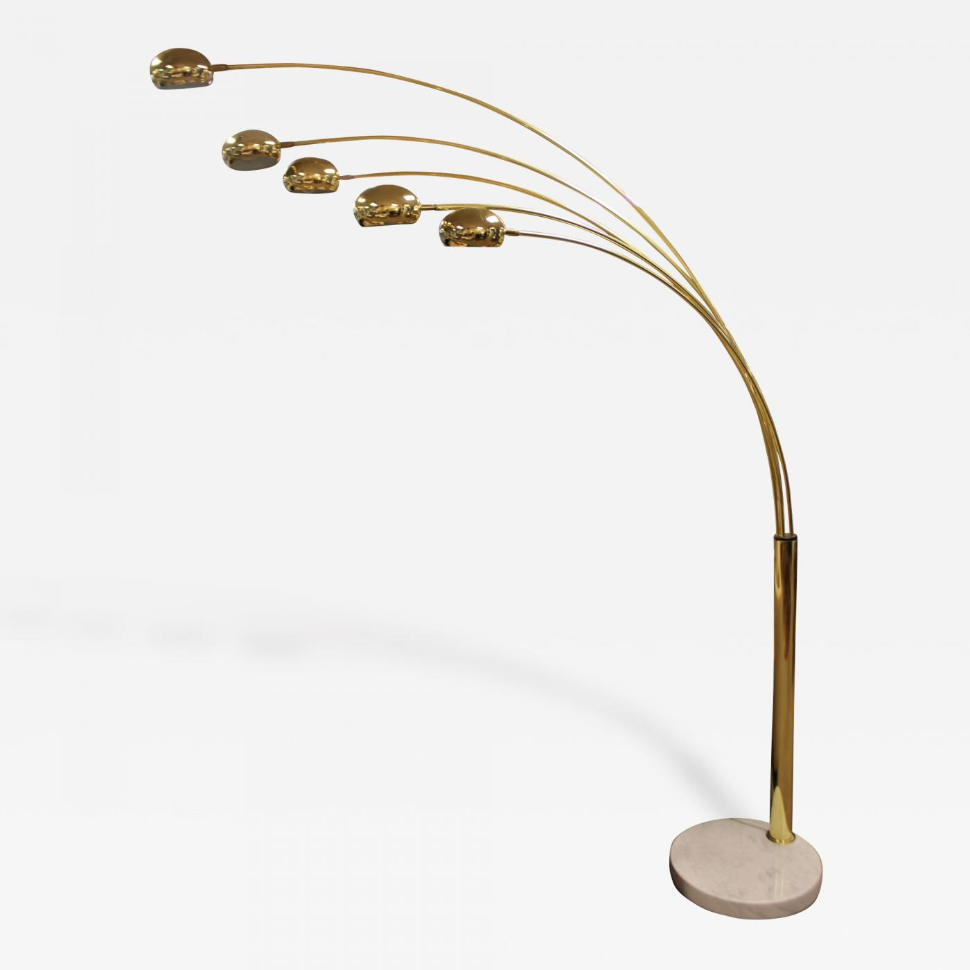 Mid century modern five arm arc brass floor lamp with white listings furniture lighting floor lamps mozeypictures Gallery