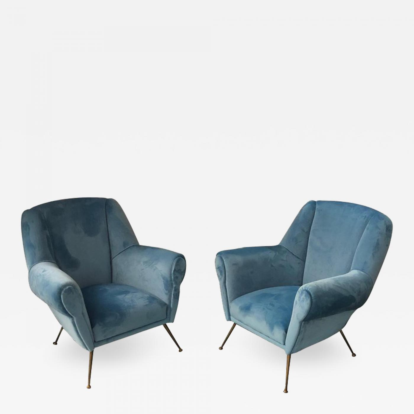 Swell Mid Century Modern Italian Light Blue Velvet And Brass Armchairs 1950 Pabps2019 Chair Design Images Pabps2019Com